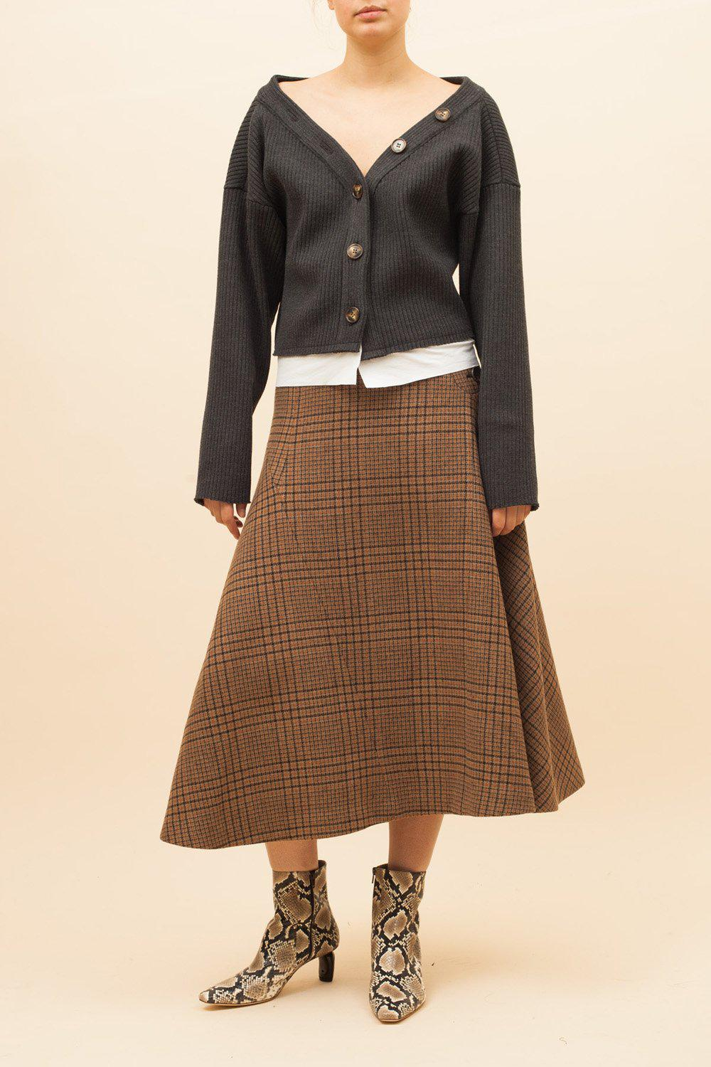 Alana Skirt Wool Check Beige - SPECIAL PRICE 1