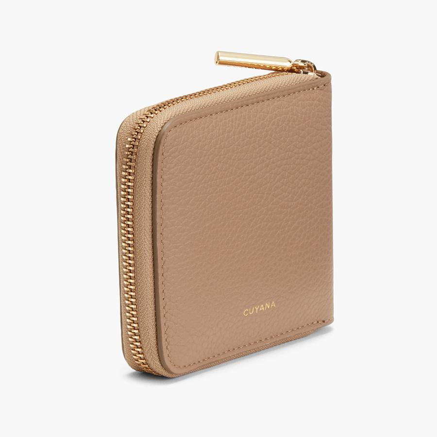 Women's Small Classic Zip Around Wallet in Cappuccino   Pebbled Leather by Cuyana 1