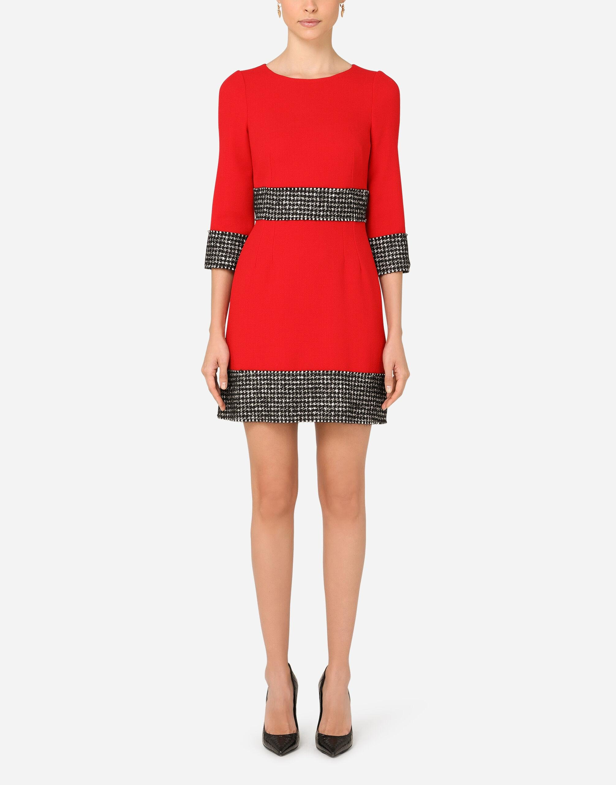 Short wool crepe dress with houndstooth details