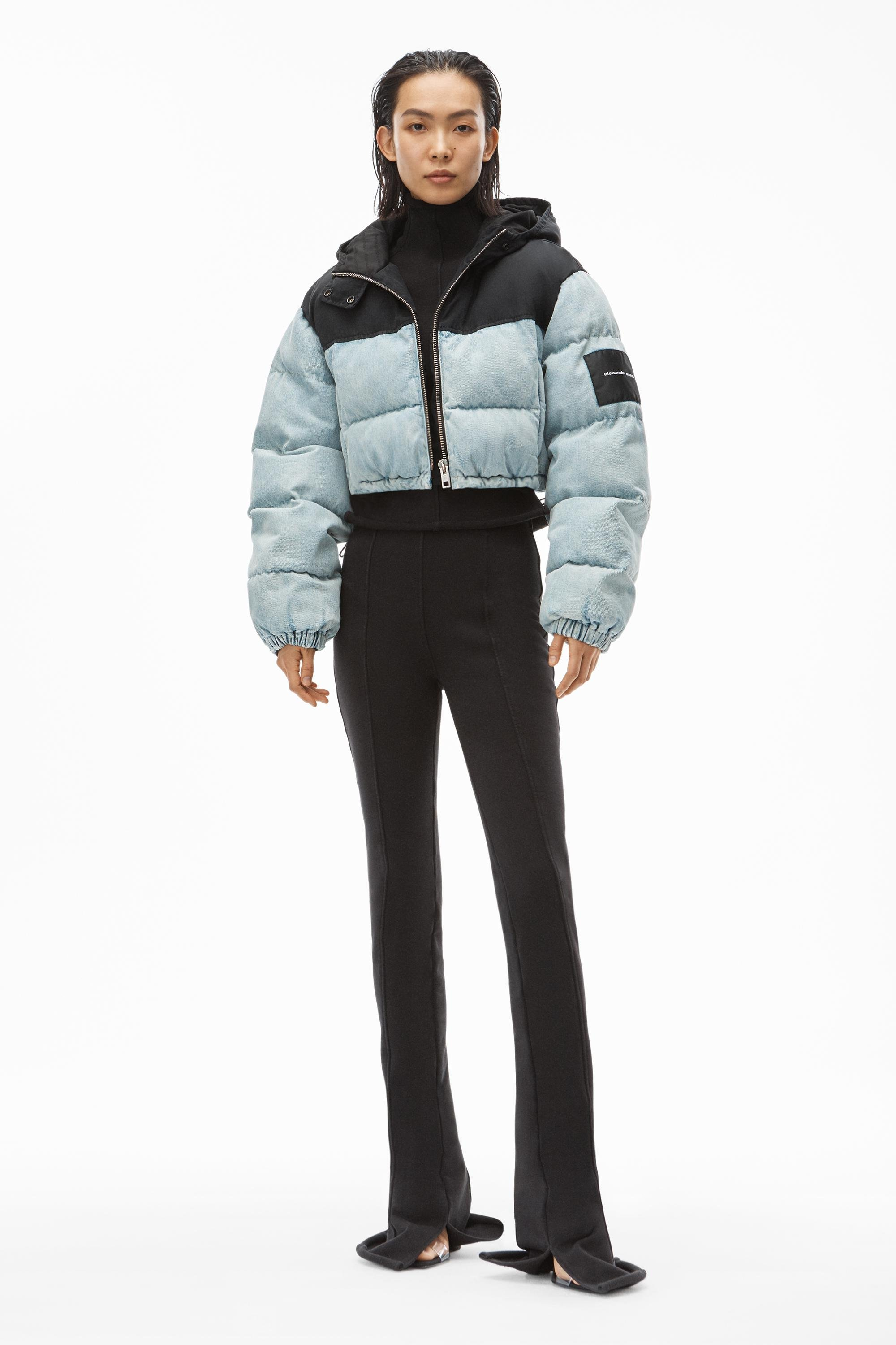 cropped colorblock puffer jacket in denim