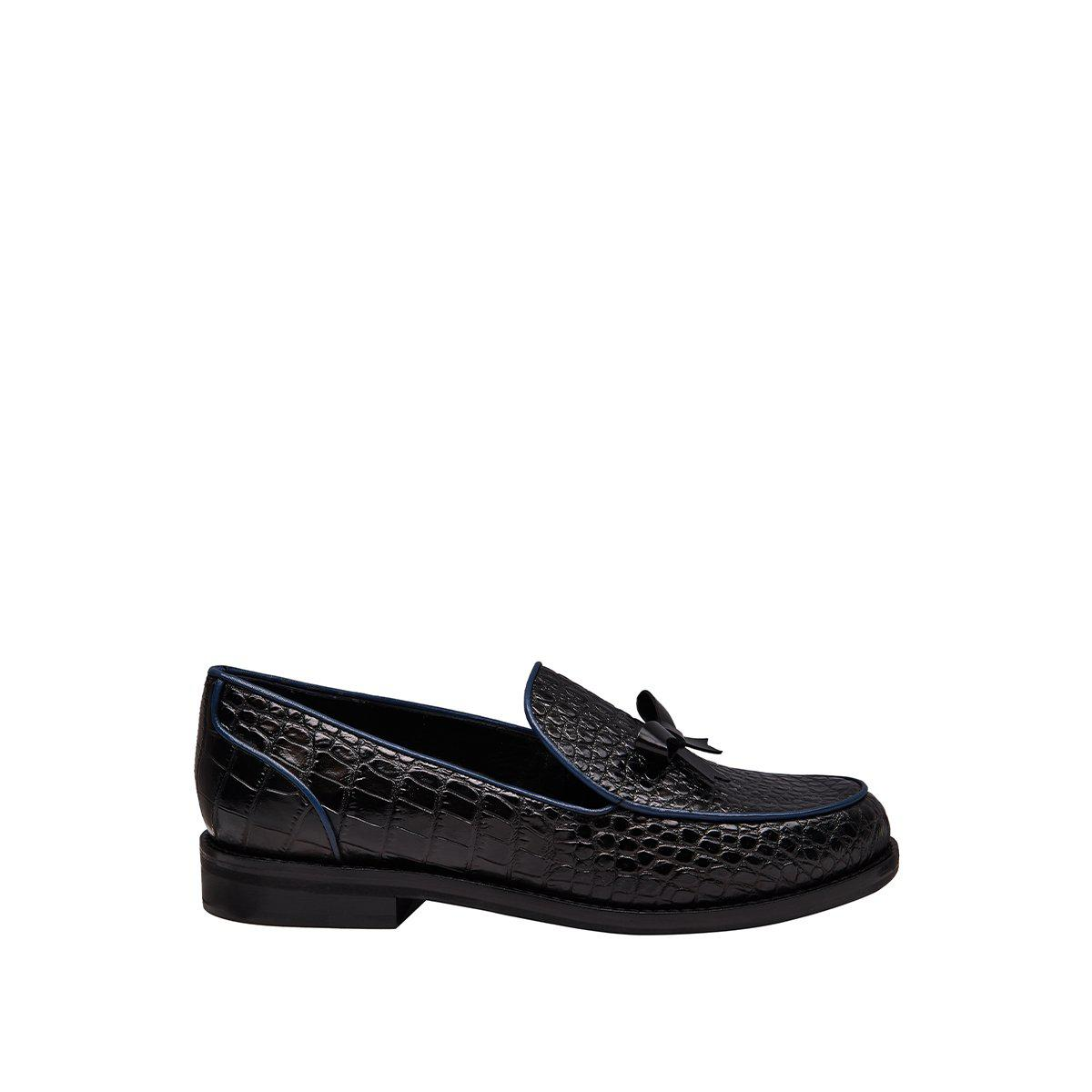 Keaton Loafer - Black/Blue Piping