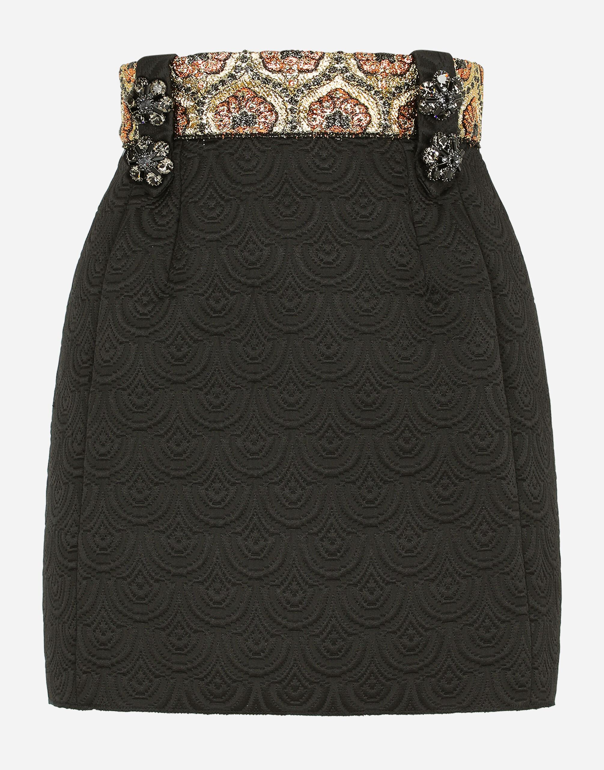 Short jacquard skirt with bejeweled buttons 5