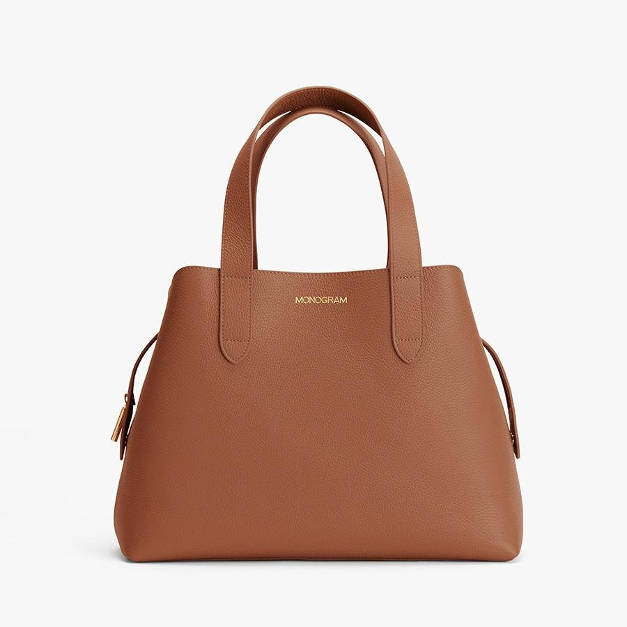Women's Zippered Satchel Bag in Caramel | Pebbled Leather by Cuyana 7