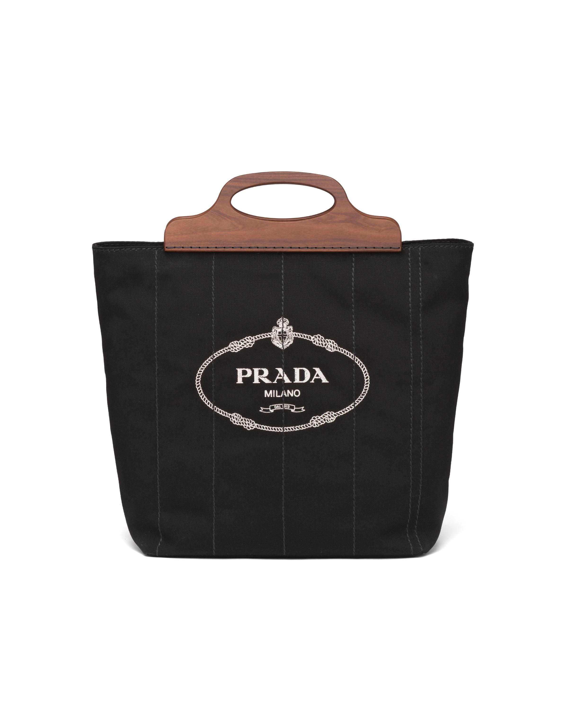 Medium Tote In Canvas And Wood Women Black 5
