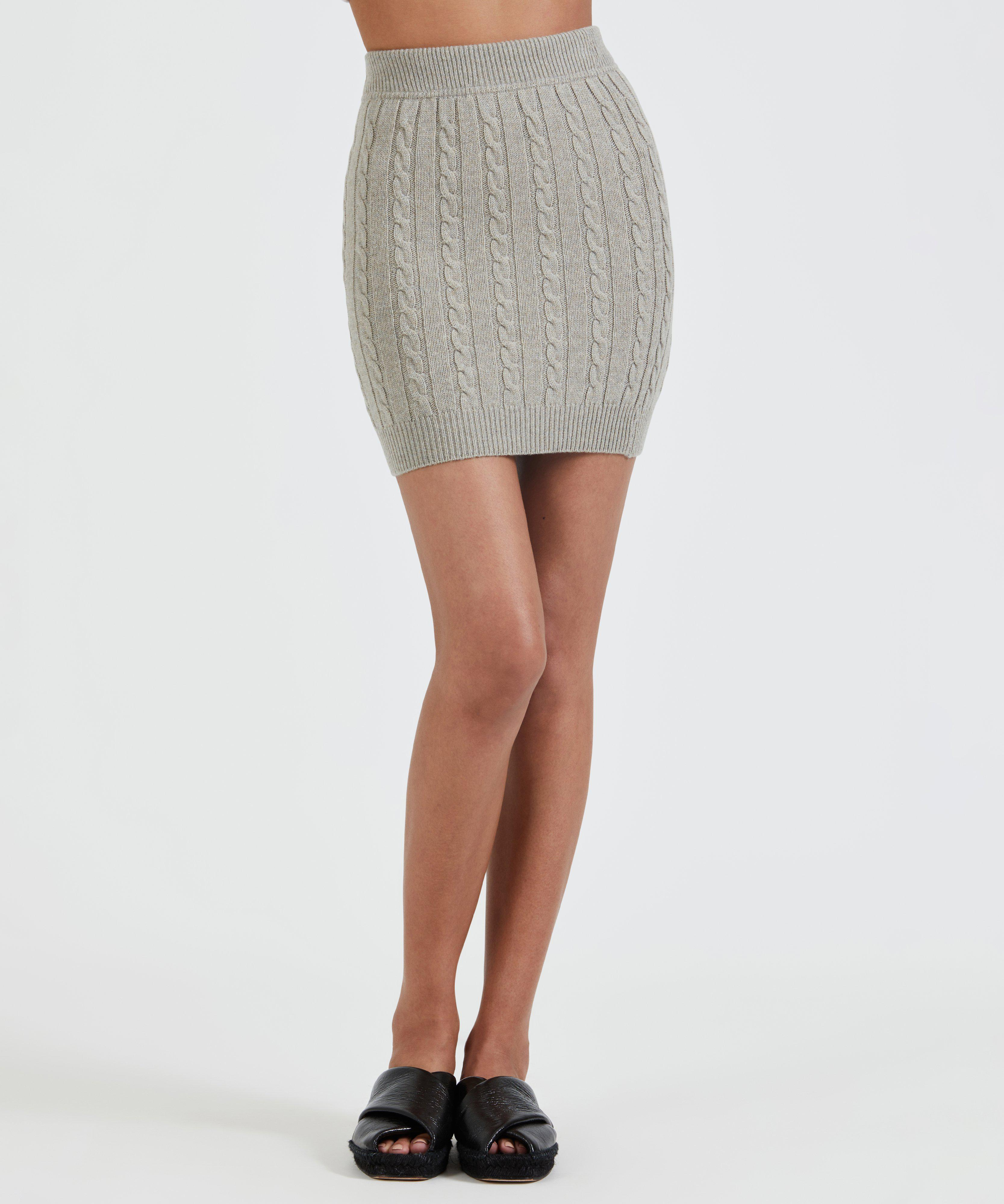 Luxe Wool Cashmere Cable Knit Skirt - Pumice