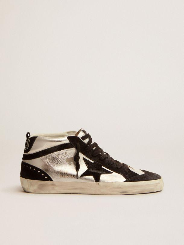 Mid Star LTD sneakers in silver laminated leather and black suede
