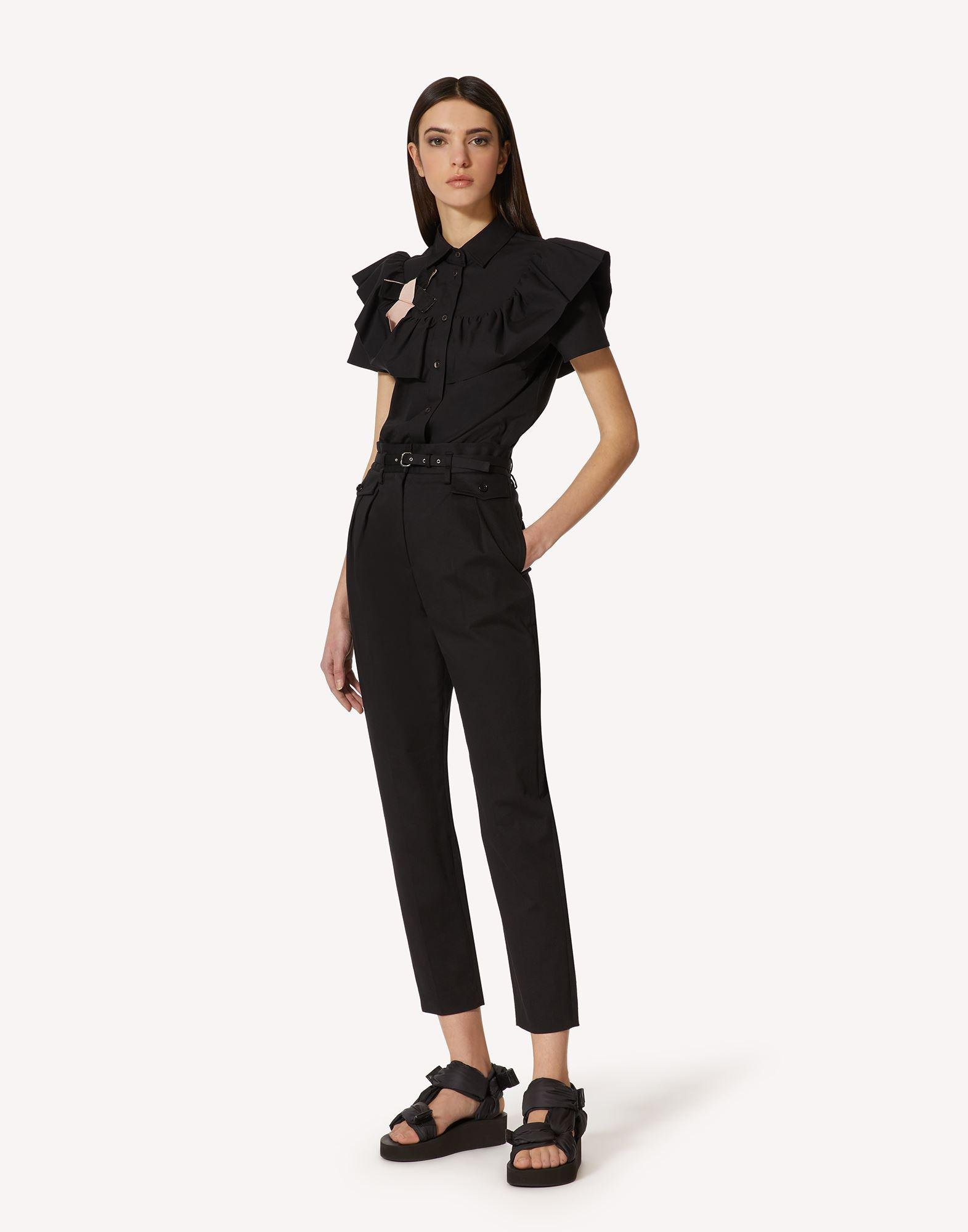 COTTON POPLIN SHIRT WITH RUFFLE AND BOW DETAIL 2