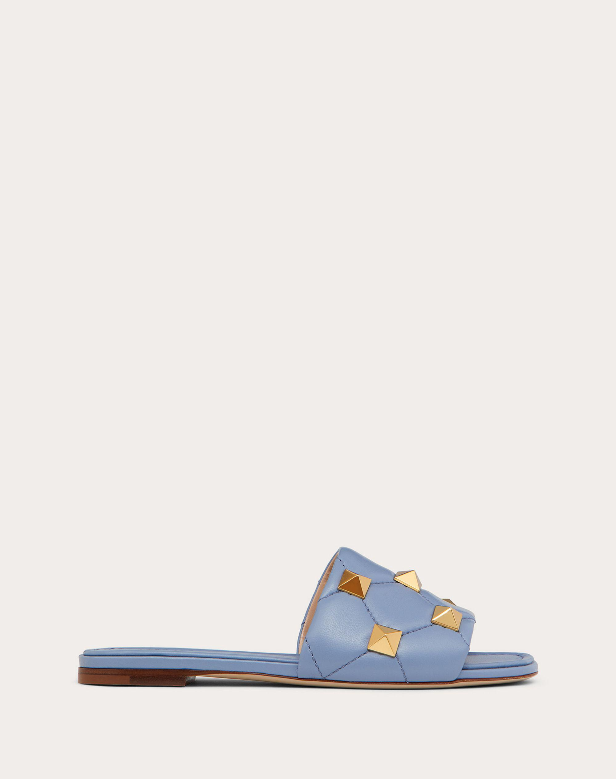 ROMAN STUD FLAT SLIDE SANDAL IN QUILTED NAPPA