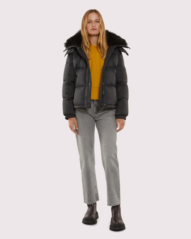 down jacket with vaporous lambswool trim