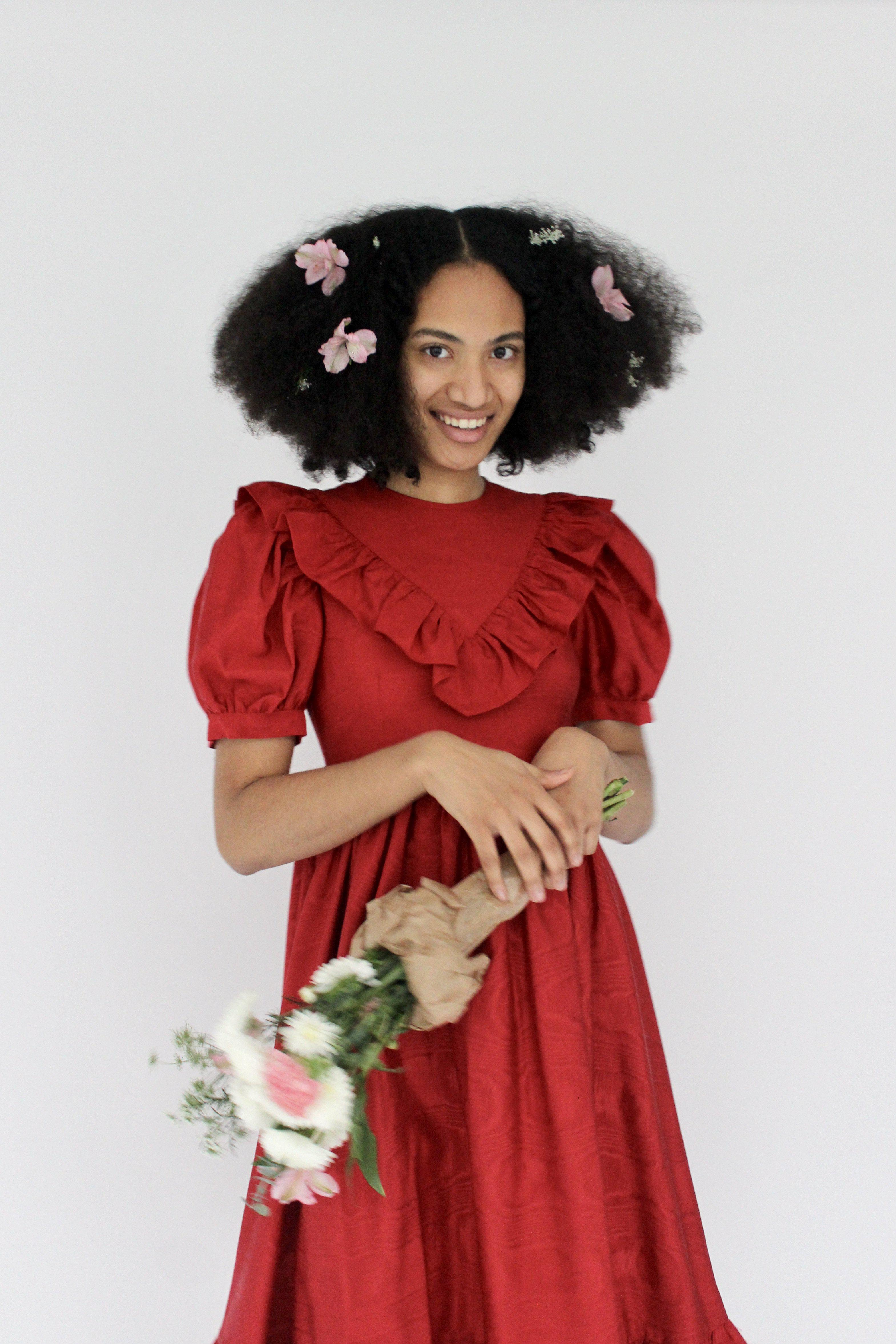 May Dress in Red Moiré