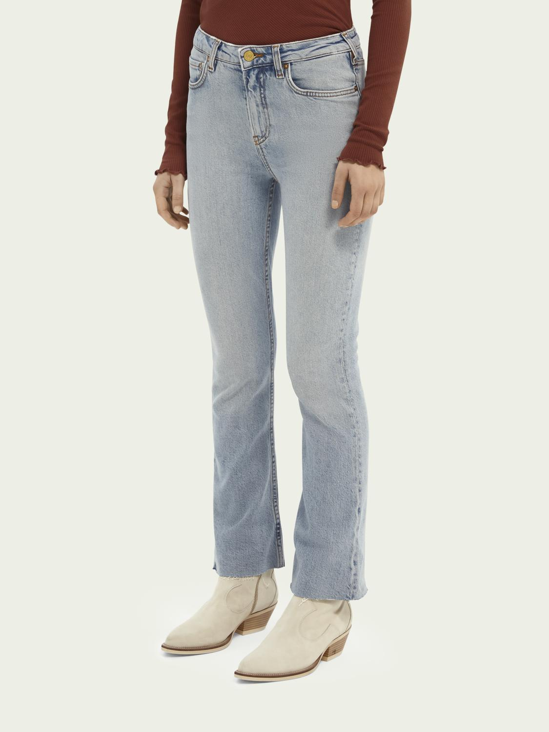 High-rise cropped flare denim trousers
