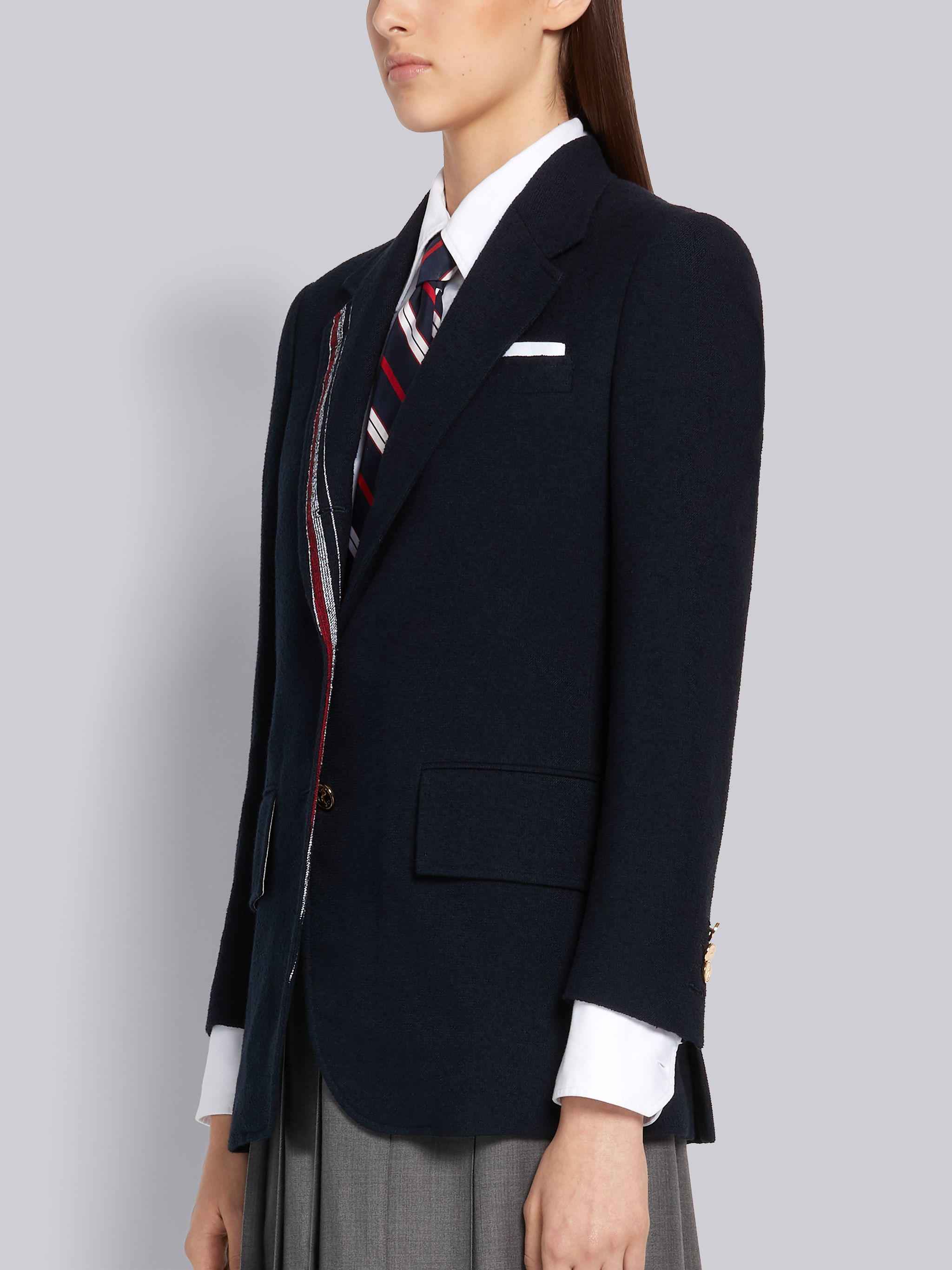 Navy Cotton Boucle Suiting Engineered Stripe Wide Lapel Jacket 1