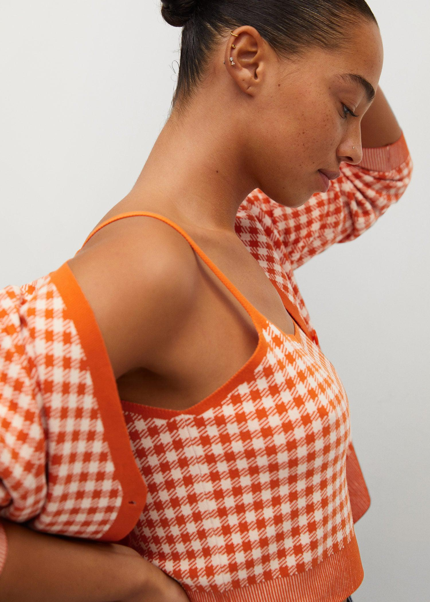 Gingham print knitted top 3