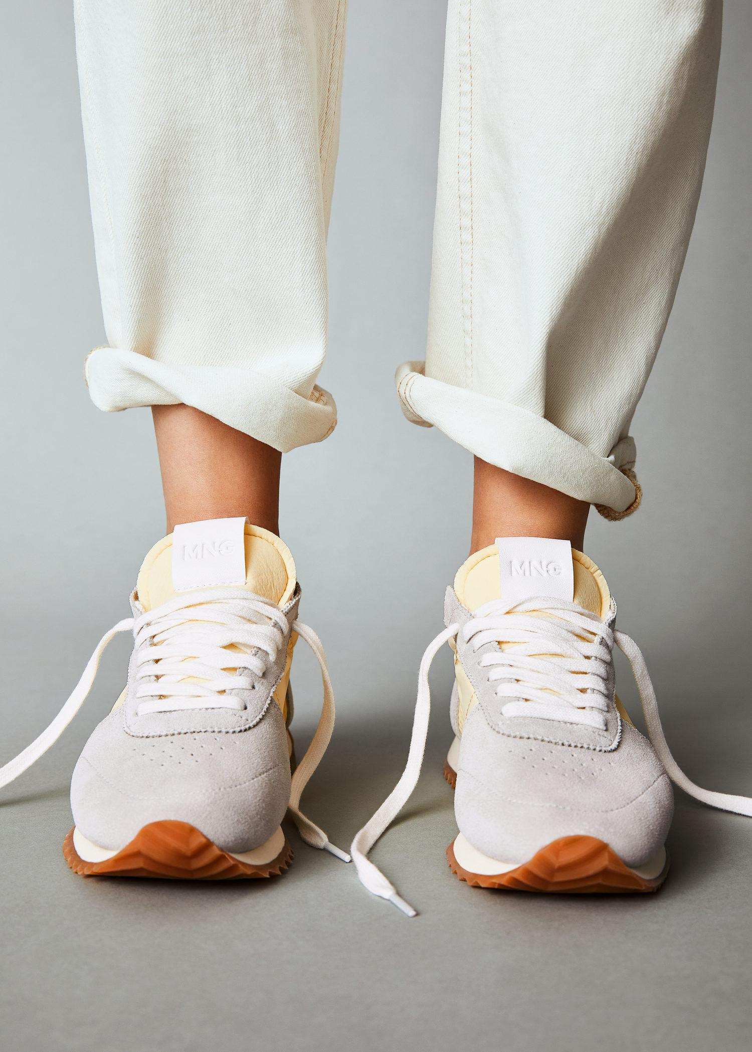 Leather mixed sneakers 6