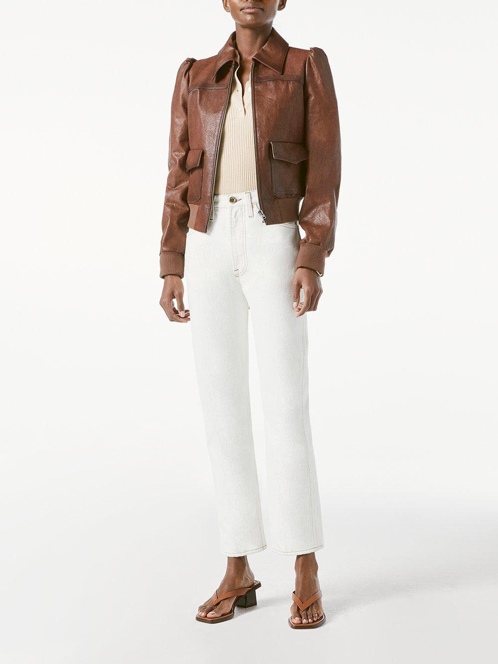 Femme Leather Bomber -- Deep Tobacco 1
