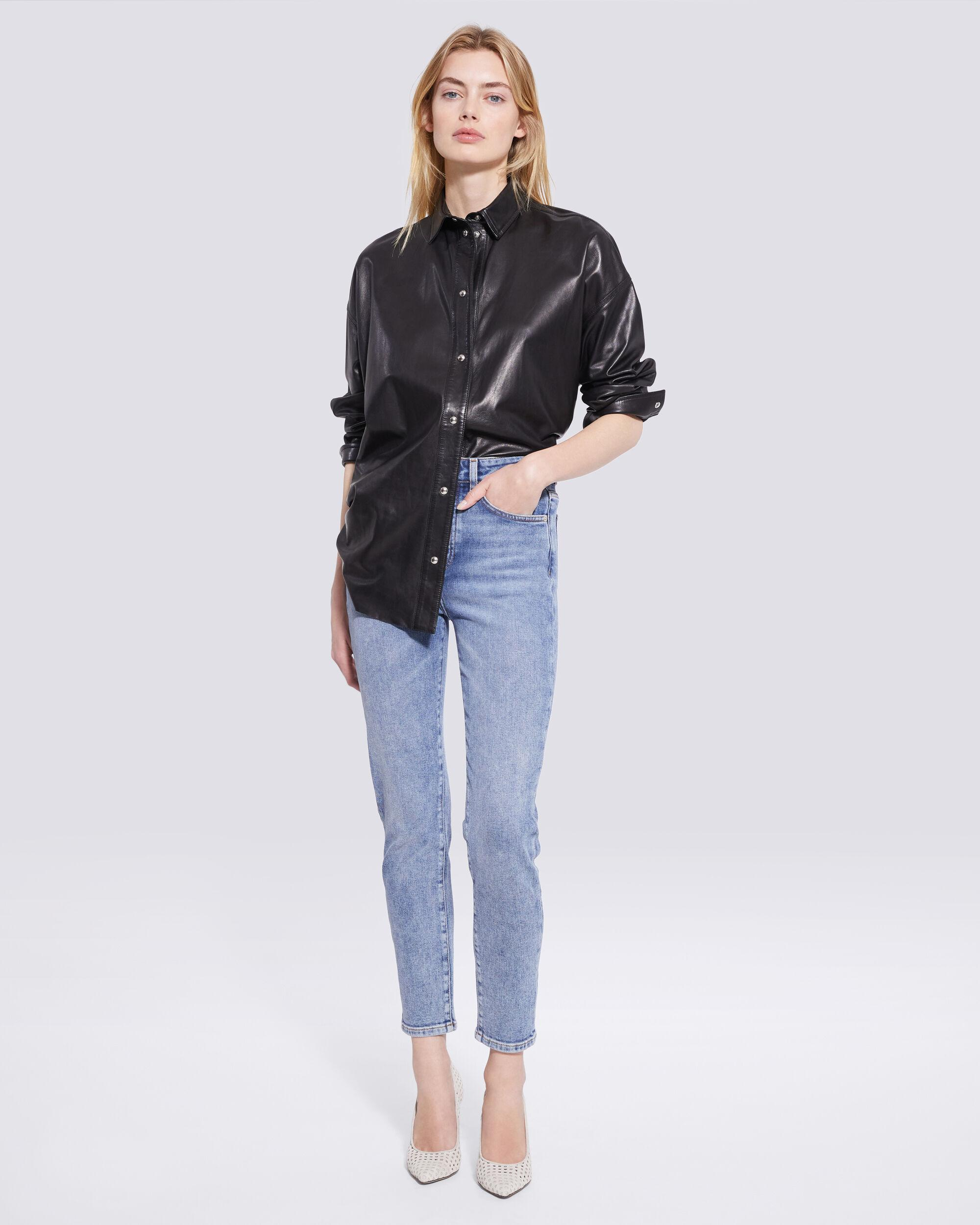 SYSTEM LEATHER BUTTON UP SHIRT 1