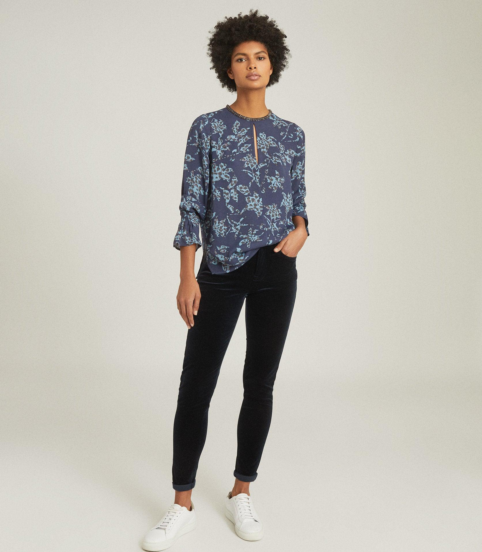 MARINA - PRINTED BLOUSE WITH EMBELLISHMENT DETAIL