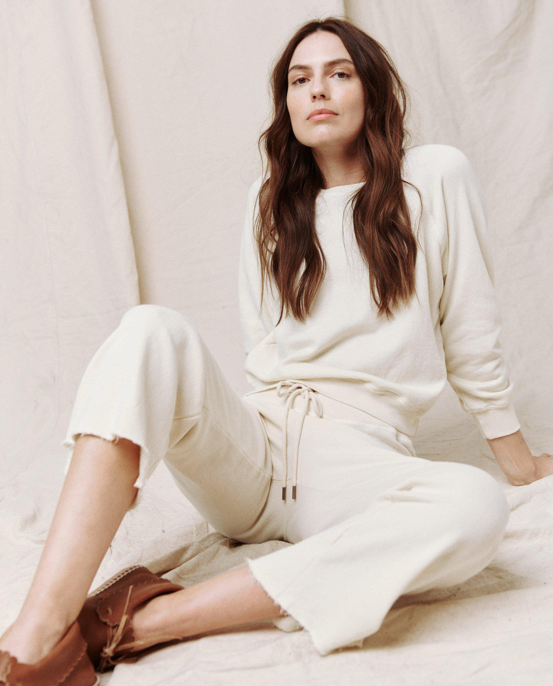 The Wide Leg Cropped Sweatpant. -- WASHED WHITE 1