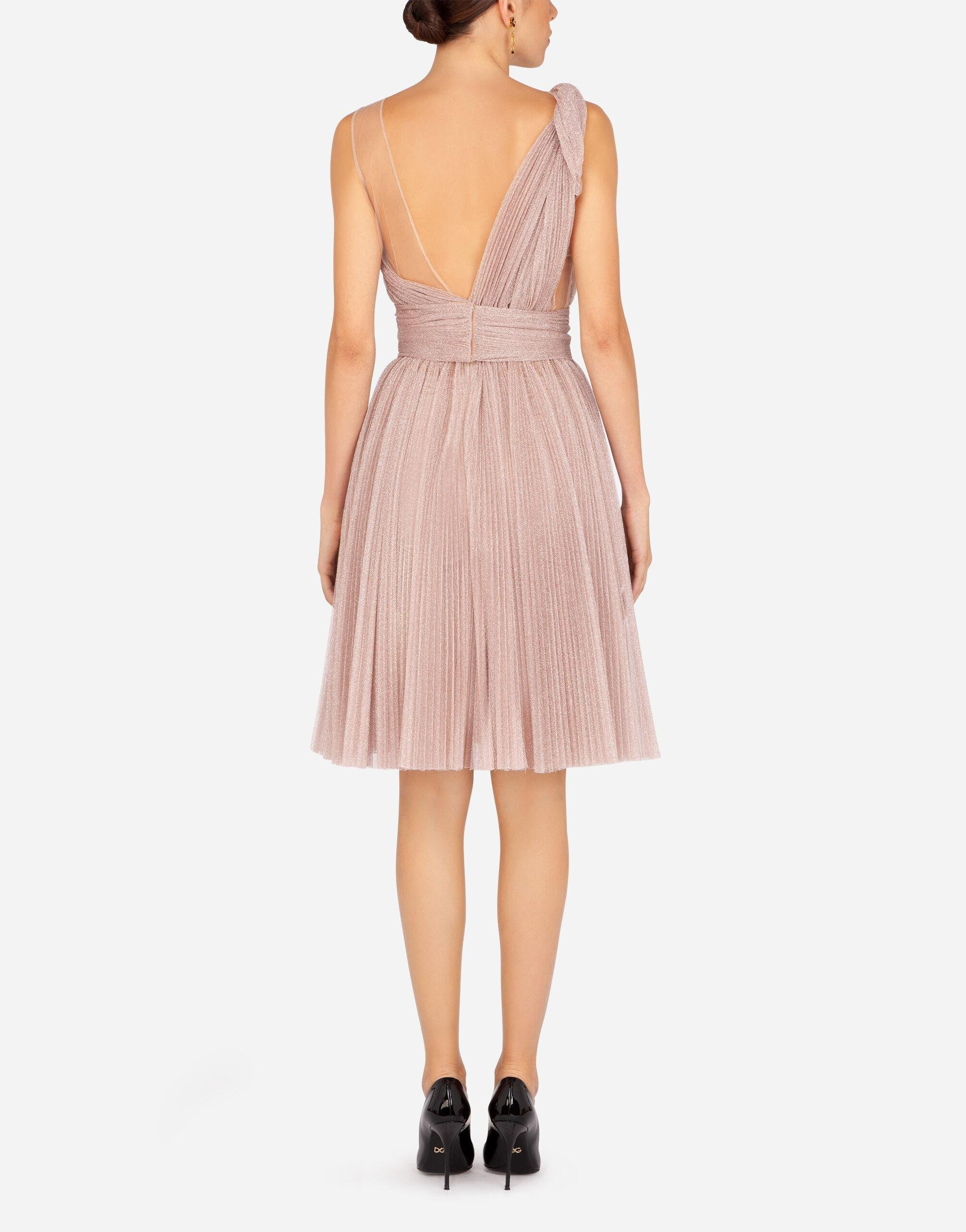 One-shoulder midi dress in pleated lamé tulle 1