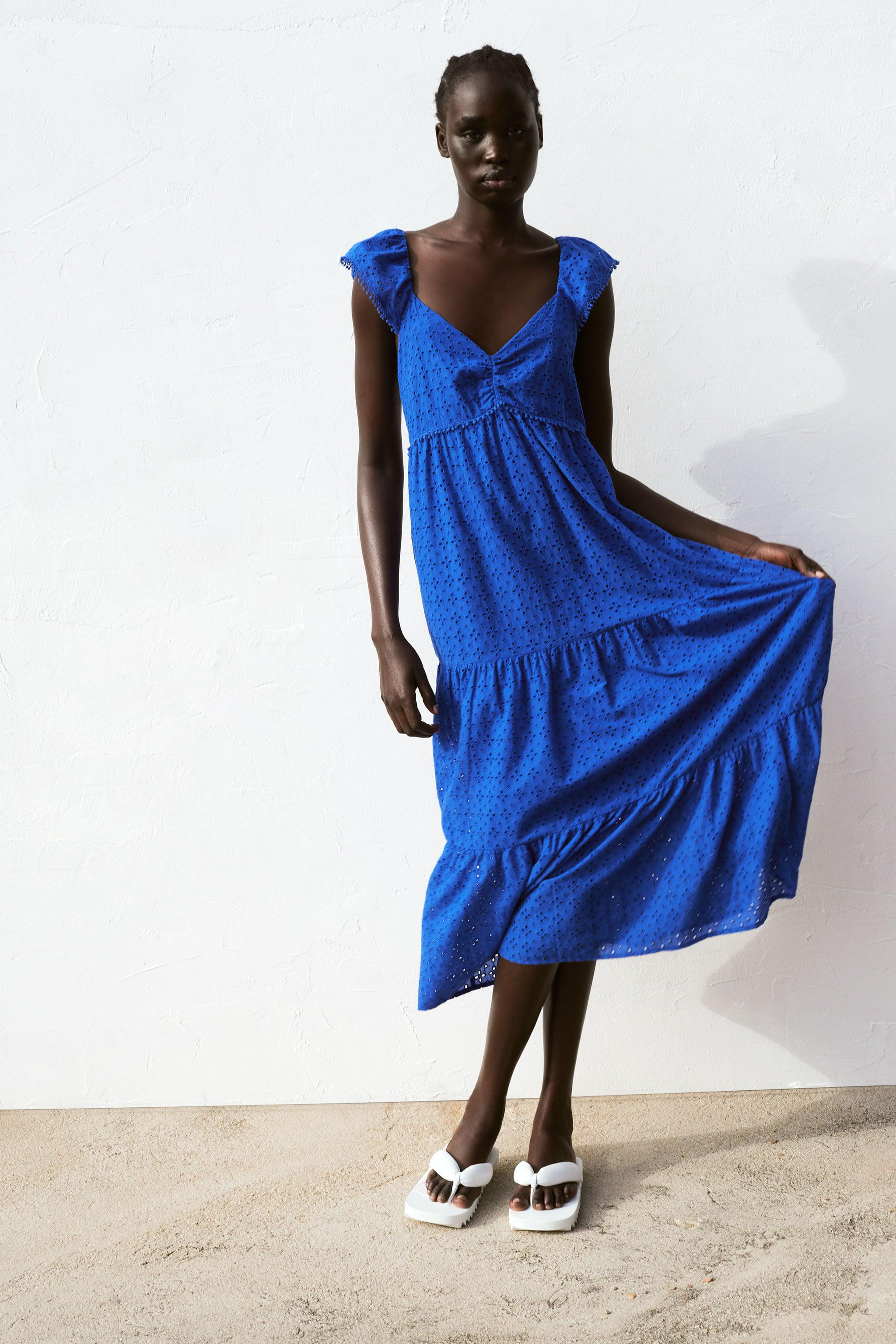EMBROIDERED EYELET STRAPPY DRESS