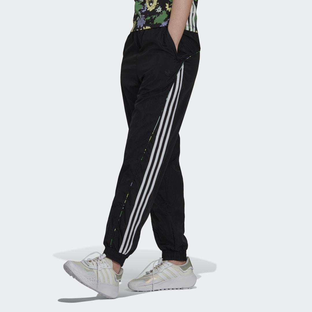 Floral Piping Woven High-Waist Track Pants Black