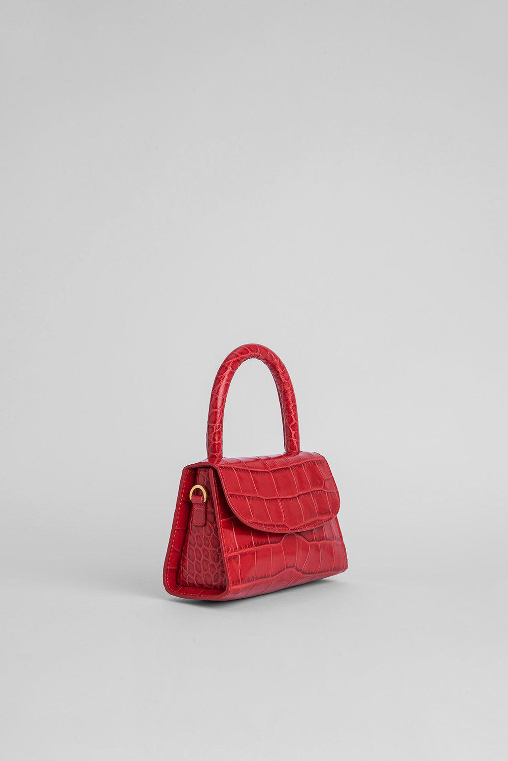 Mini Red Croco Embossed Leather 1