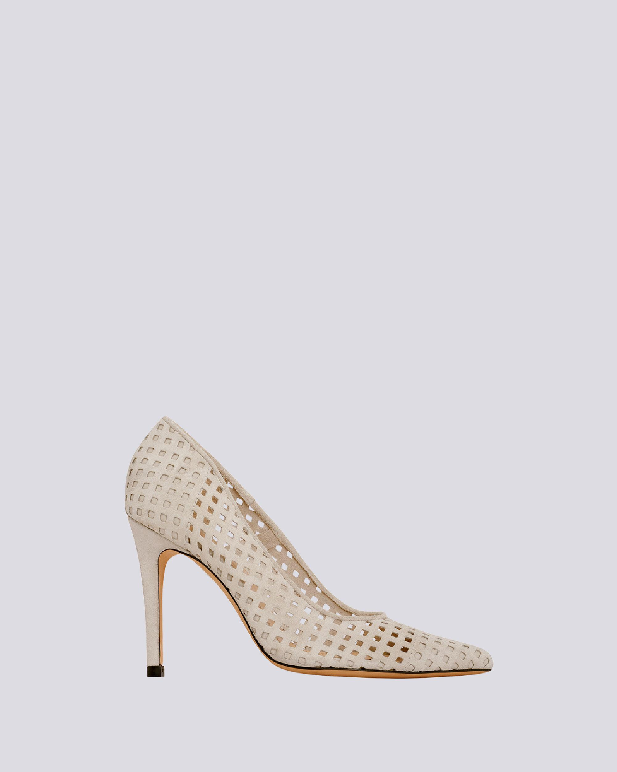 LARSON PERFORATED SUEDE POINTED PUMPS