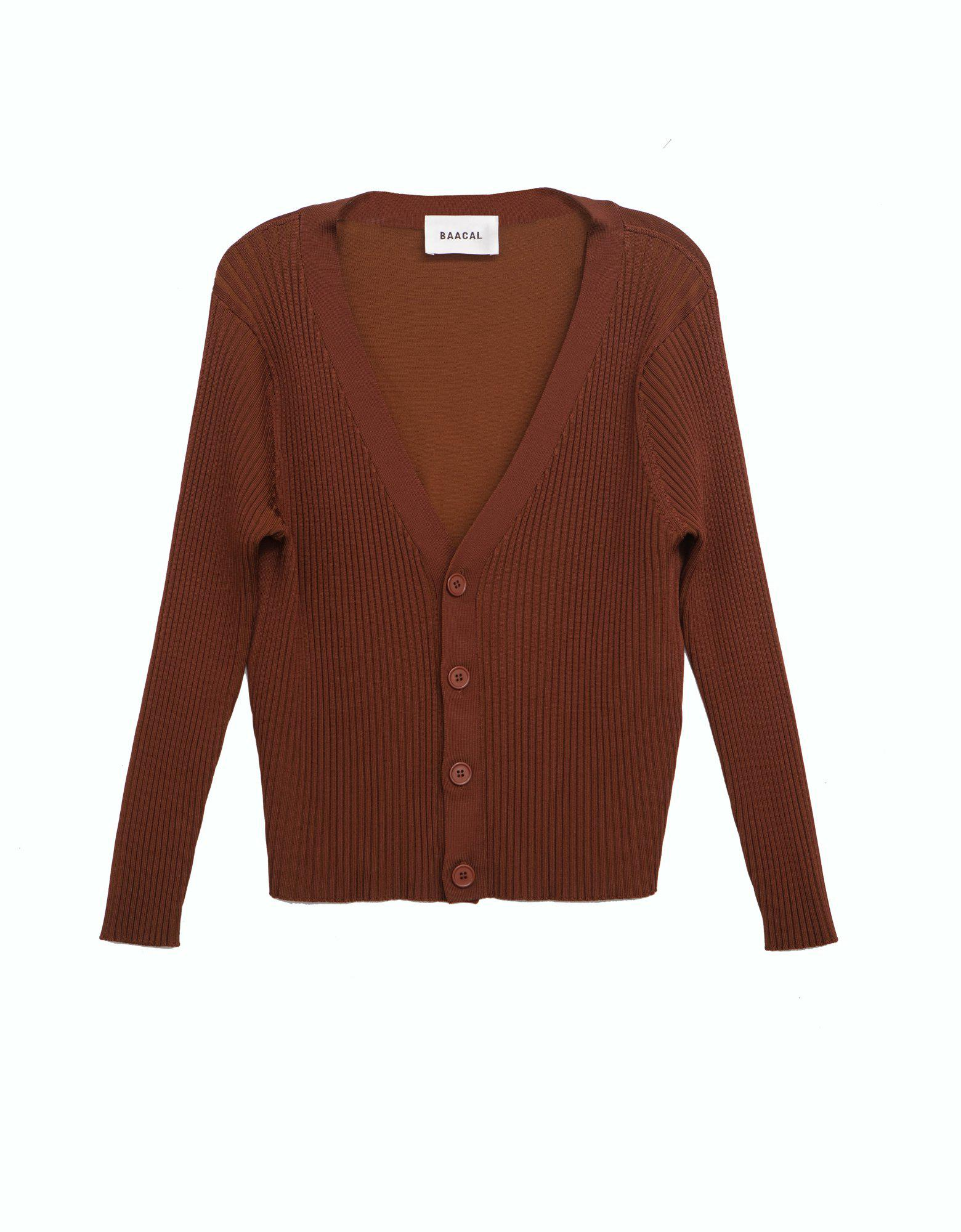 V-Neck Cardigan in Coffee Brown
