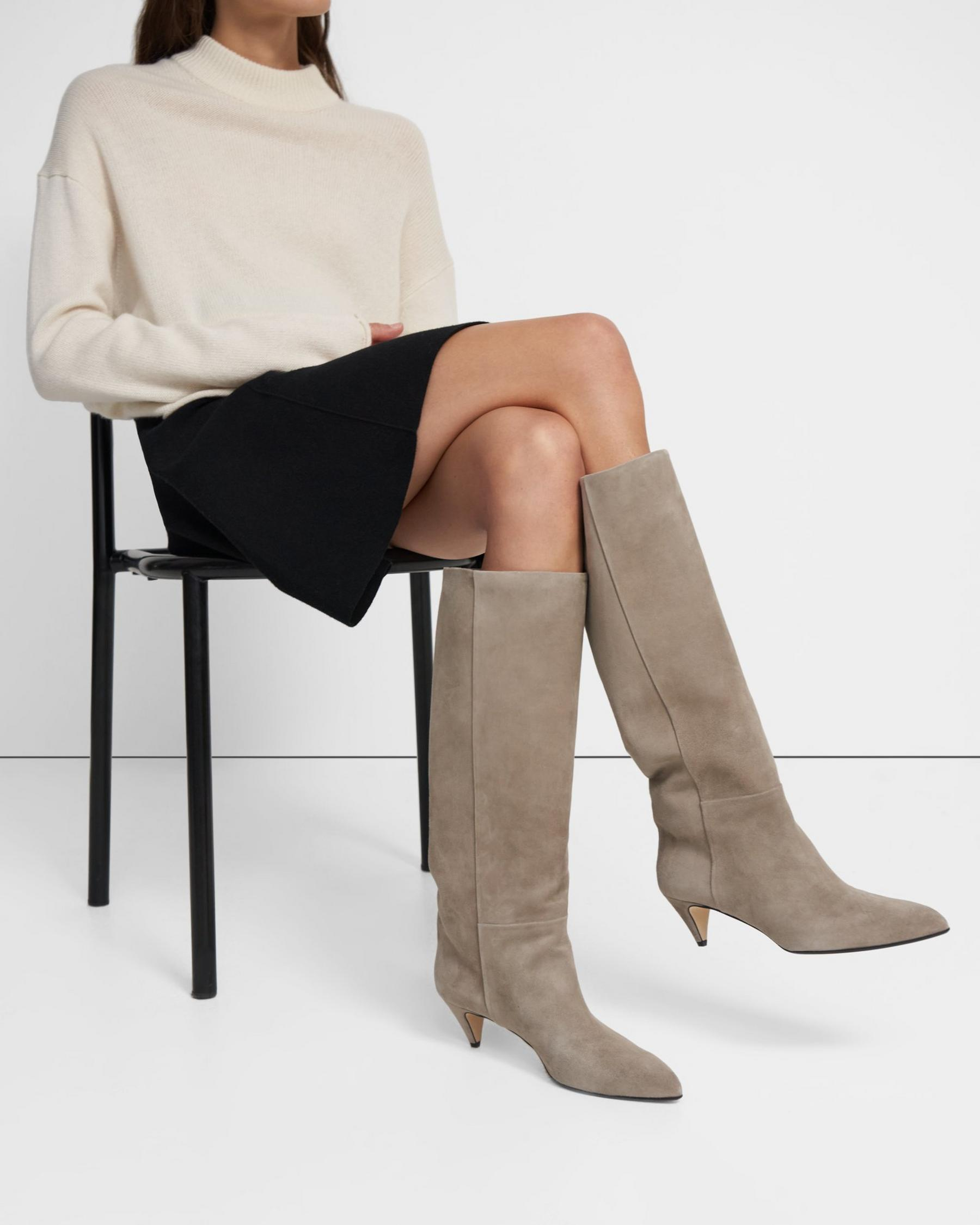 Knee-High Boot in Waxed Suede