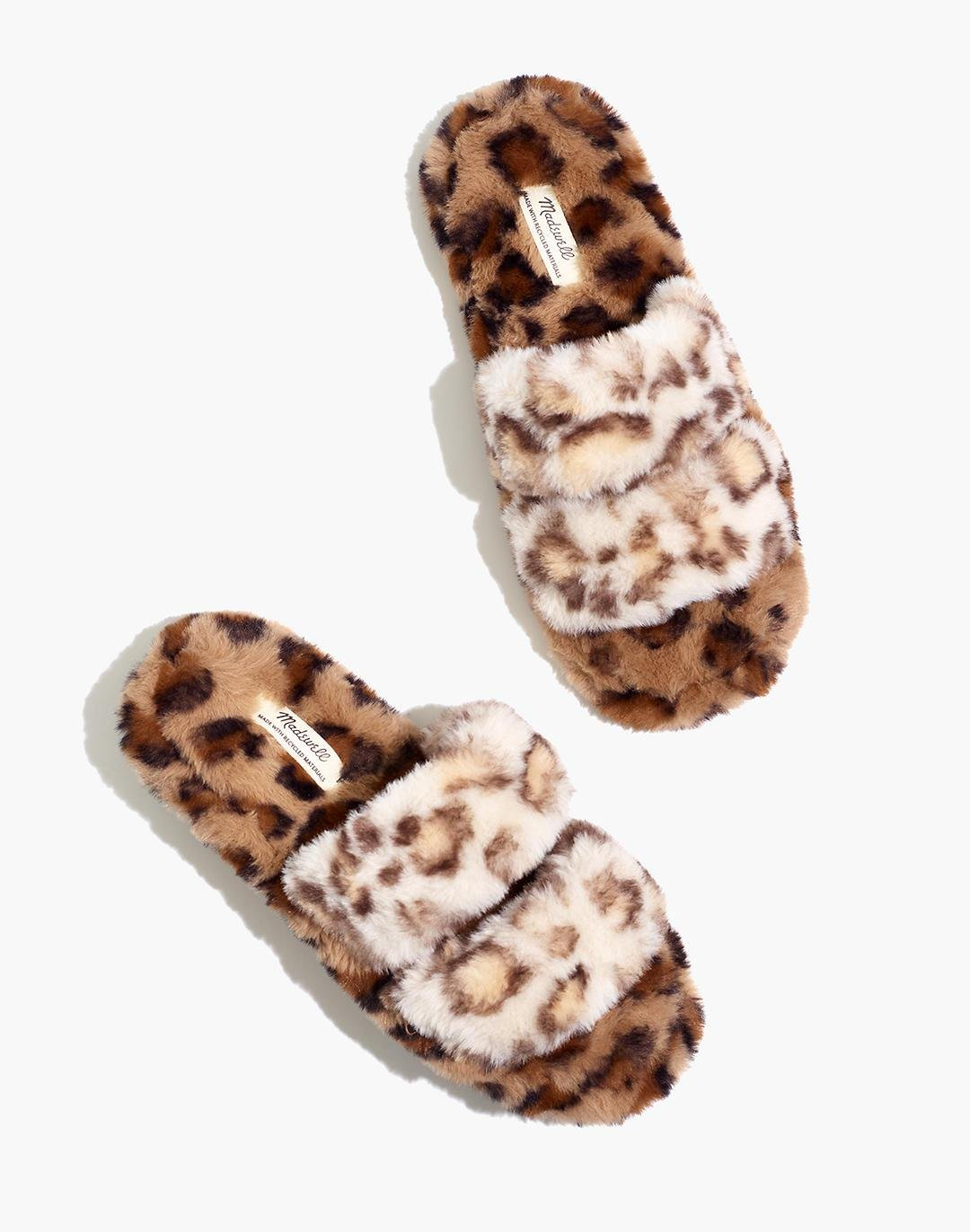 Two-Strap Scuff Slippers in Leopard Recycled Faux Fur