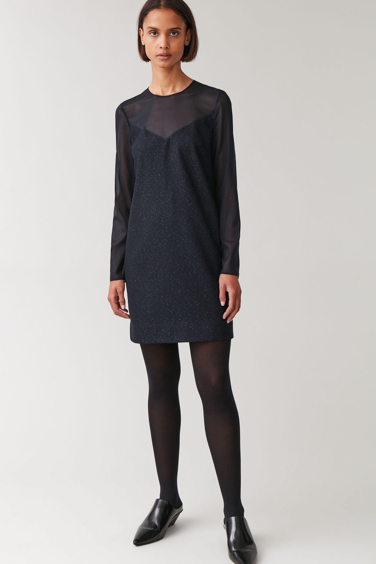 WOOL-MIX DRESS WITH SHEER UPPER
