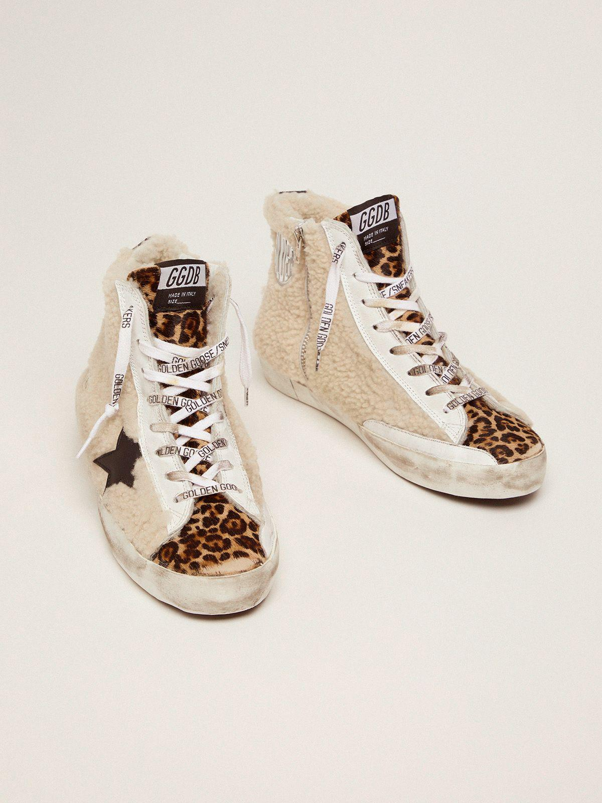 Francy sneakers made of shearling and pony skin with a leopard print 1