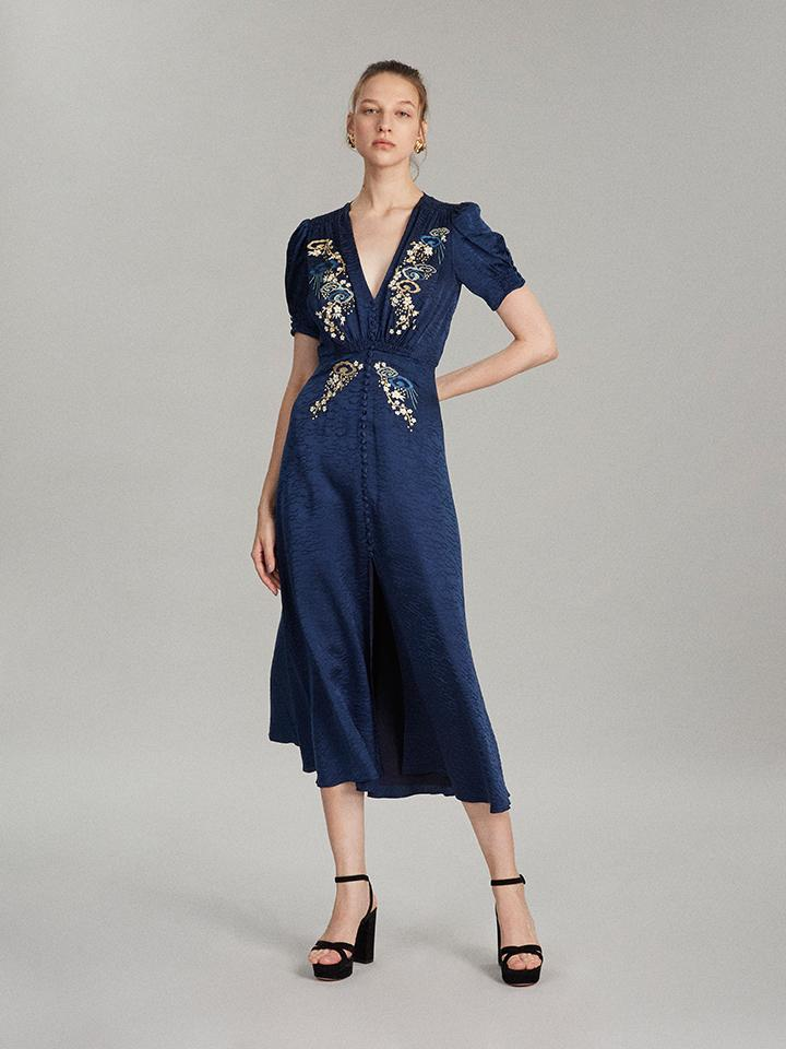 Lea Long Dress in Navy Cloud Embroidered