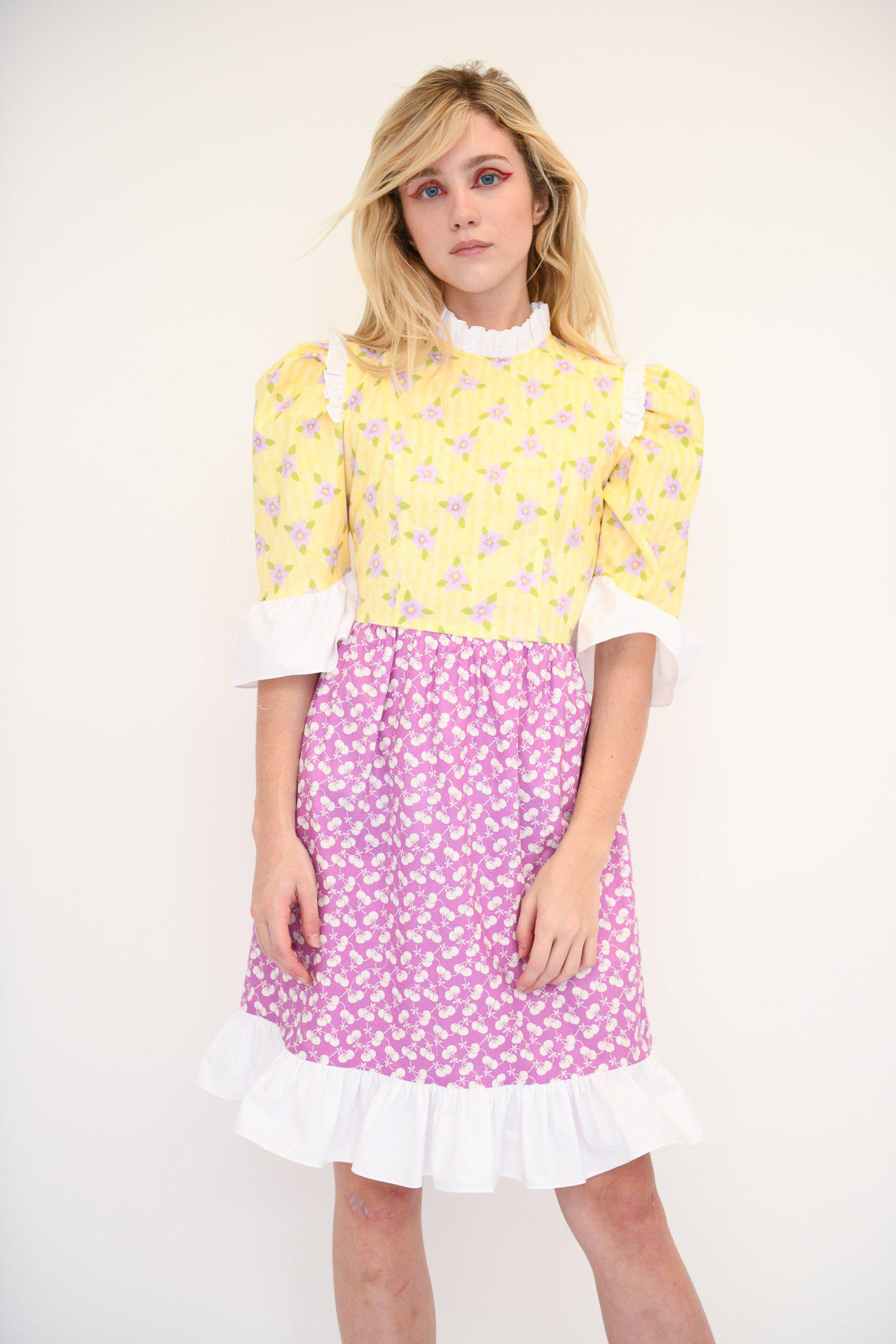 Spring Prairie Dress in Vintage Yellow and Purple Fabric