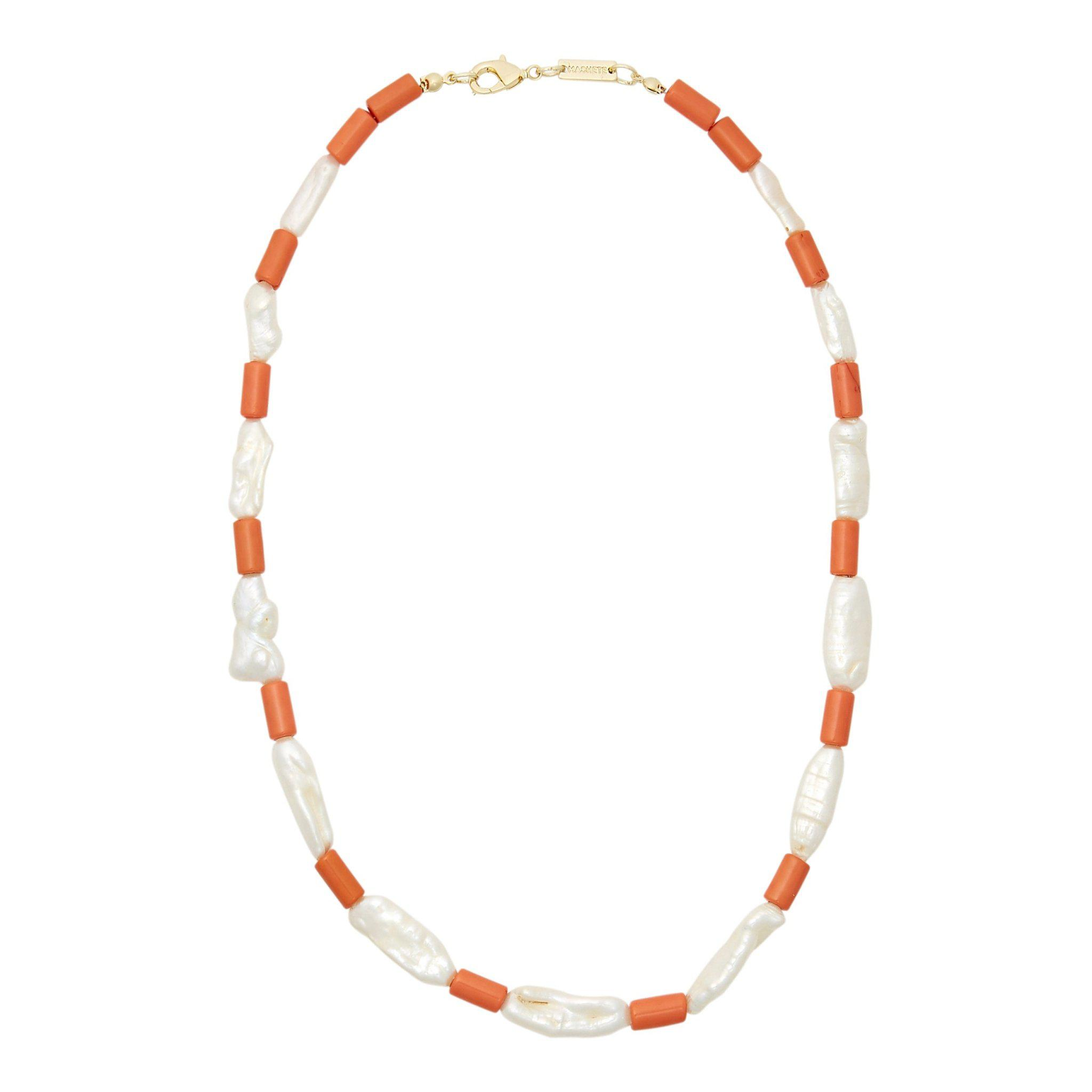 Beaded Biwa Pearl Necklace in Coral