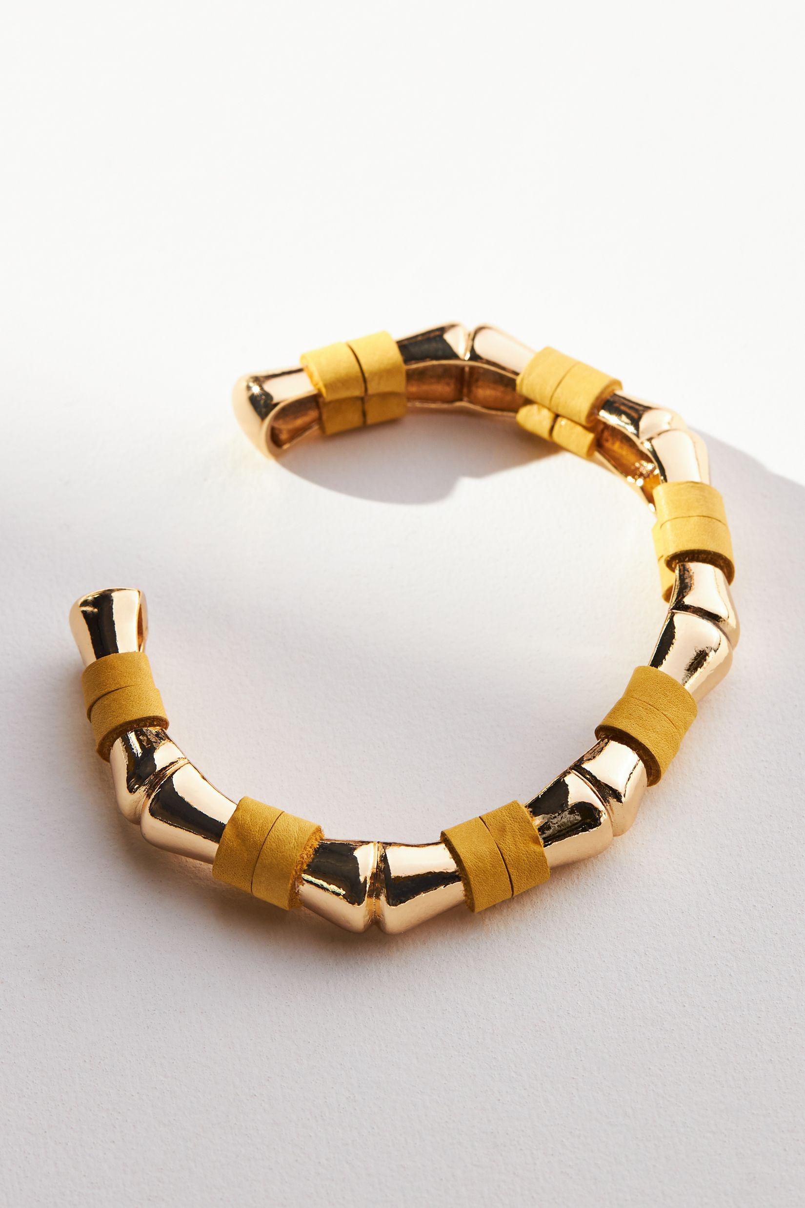 Leather-Wrapped Bamboo Cuff Bracelet