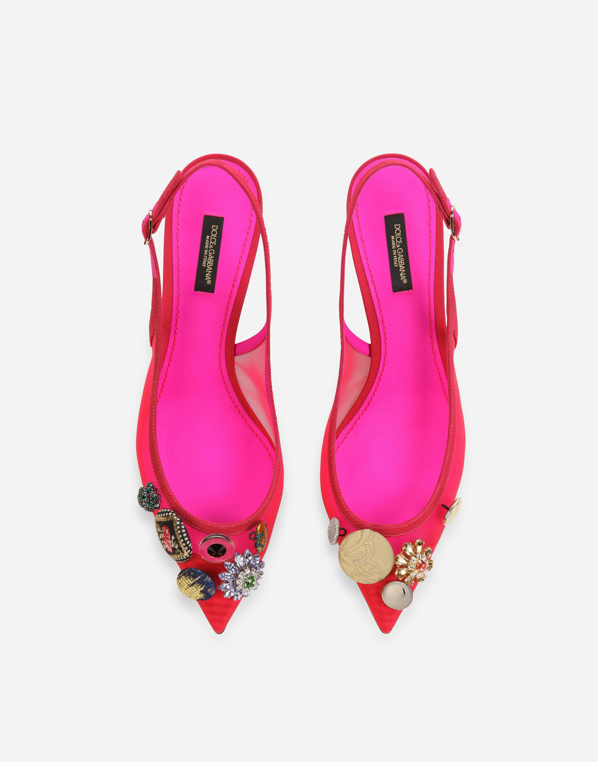 Mesh slingbacks with bejeweled buttons 3