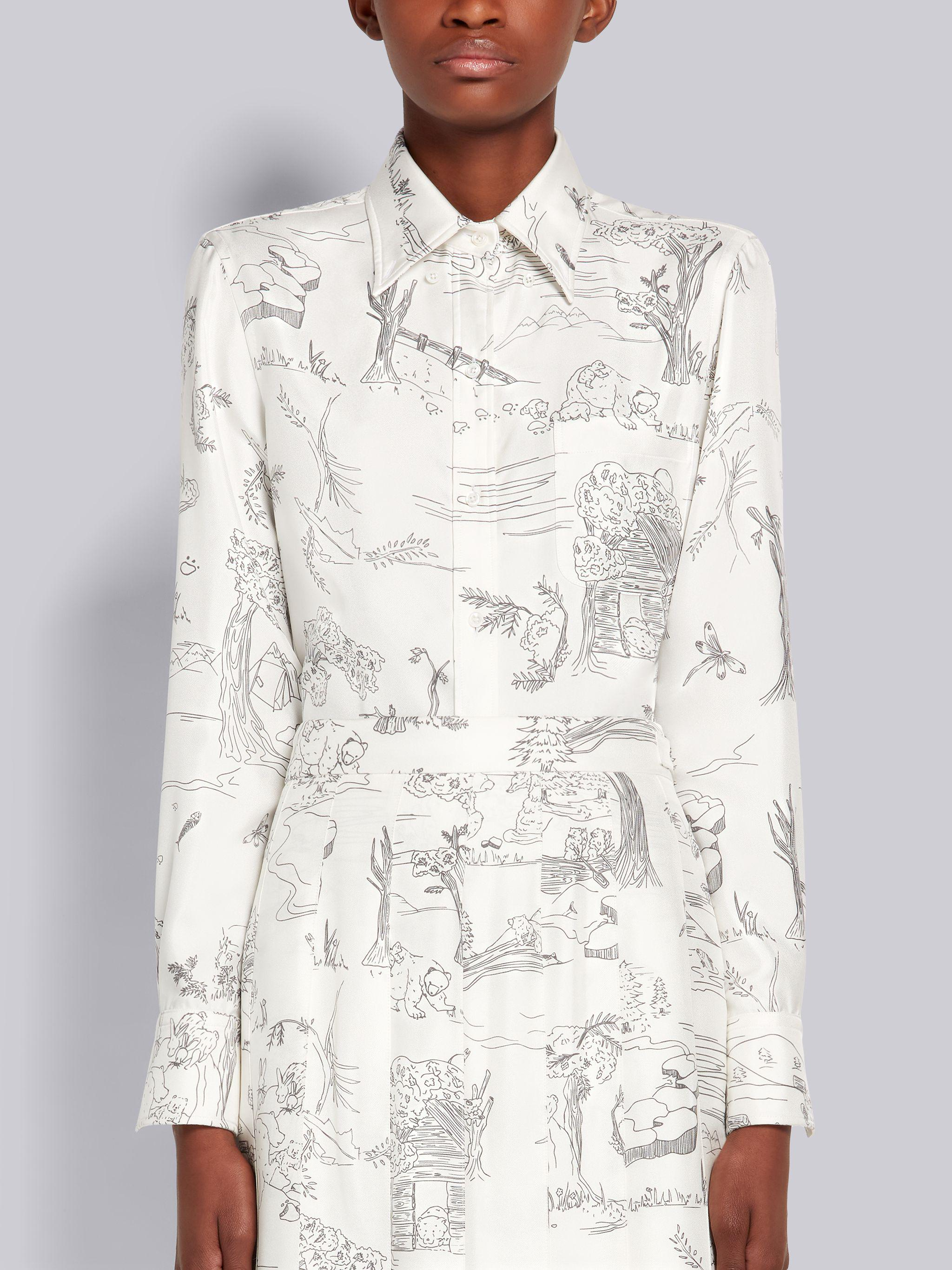 White Silk Twill Animal Camp Toile Point Collar Long-sleeve Classic Button Down Shirt