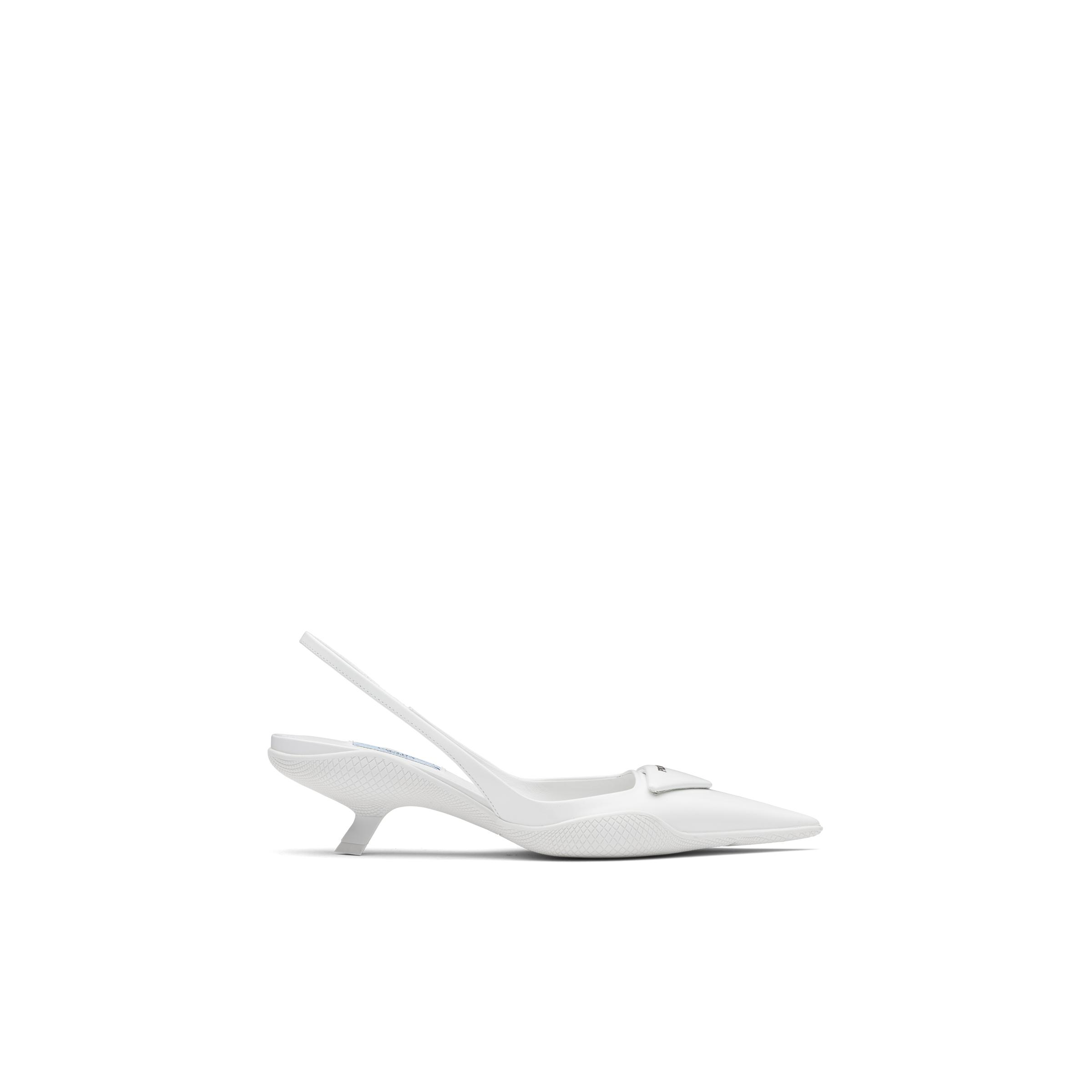 Brushed Leather Slingback Pumps Women White 2