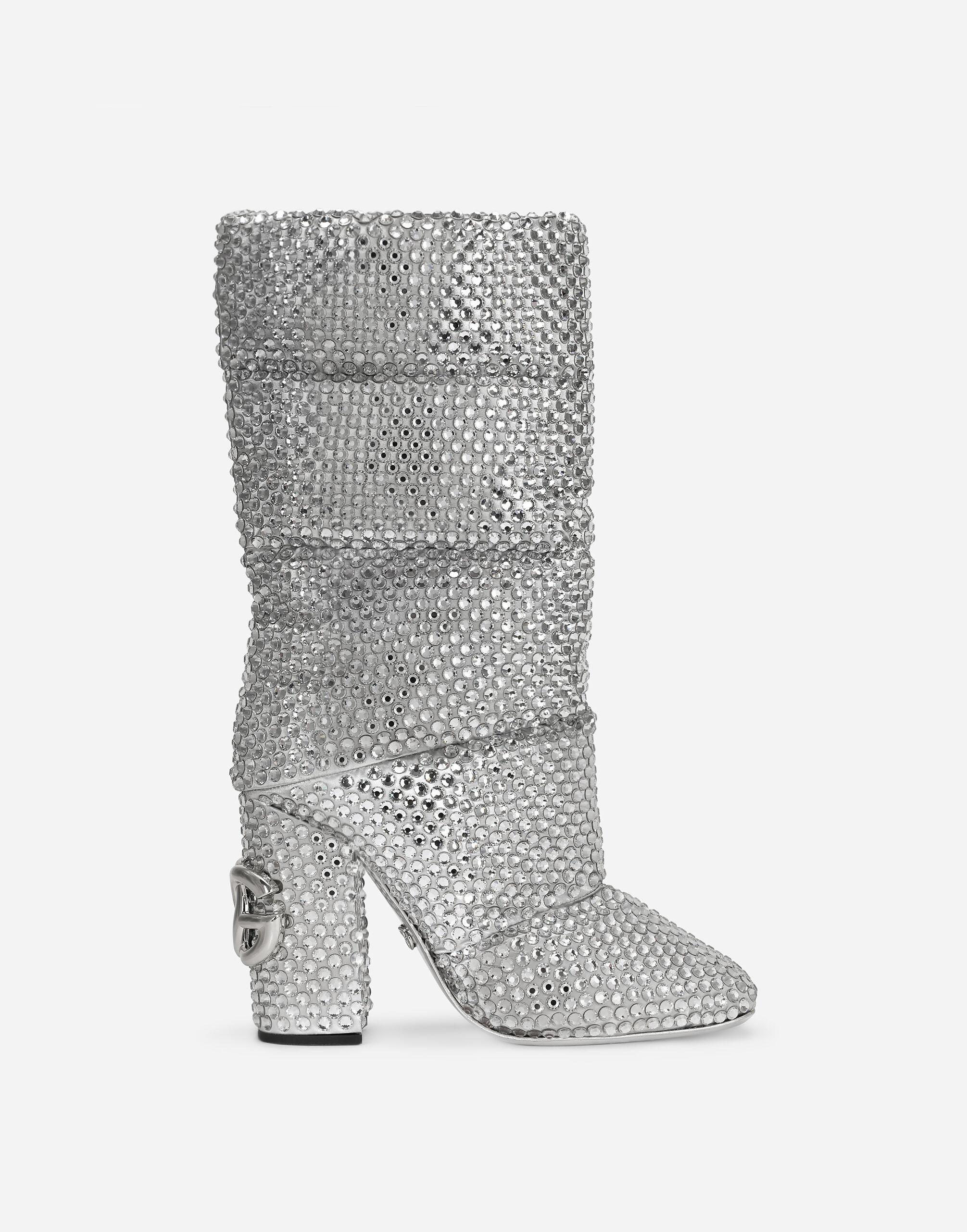 Padded nylon boots with fusible rhinestones