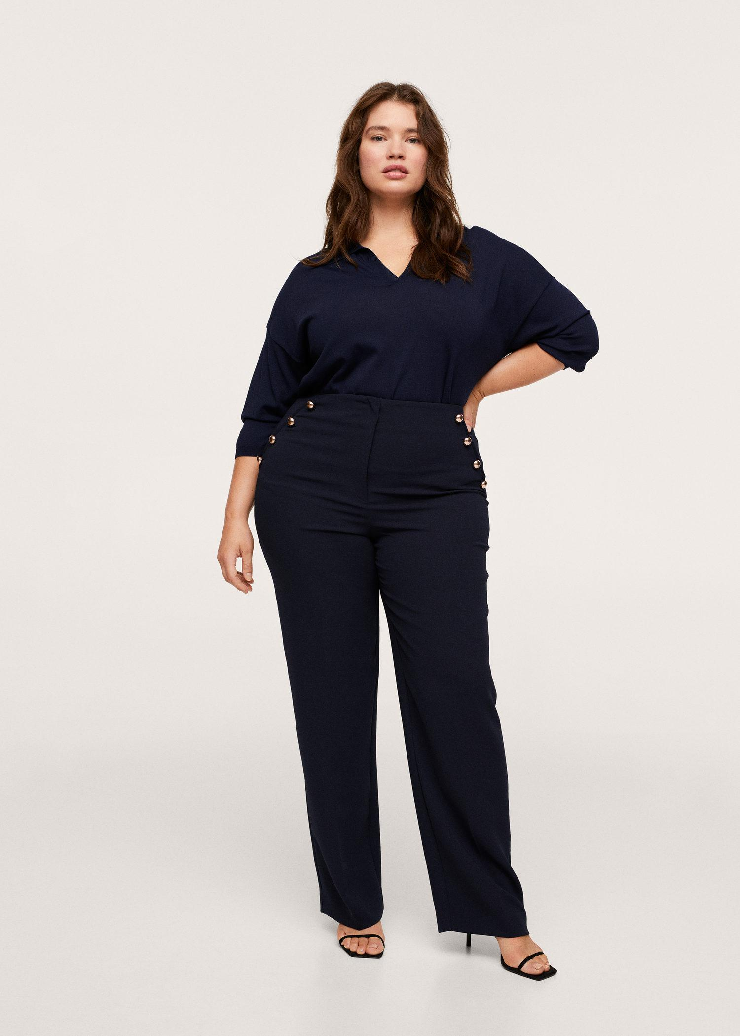 Buttons straight-fit trousers