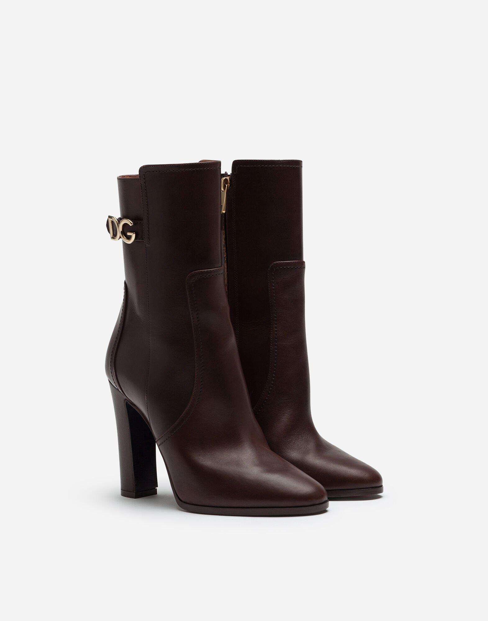 Ankle boots in cowhide with DG logo 1