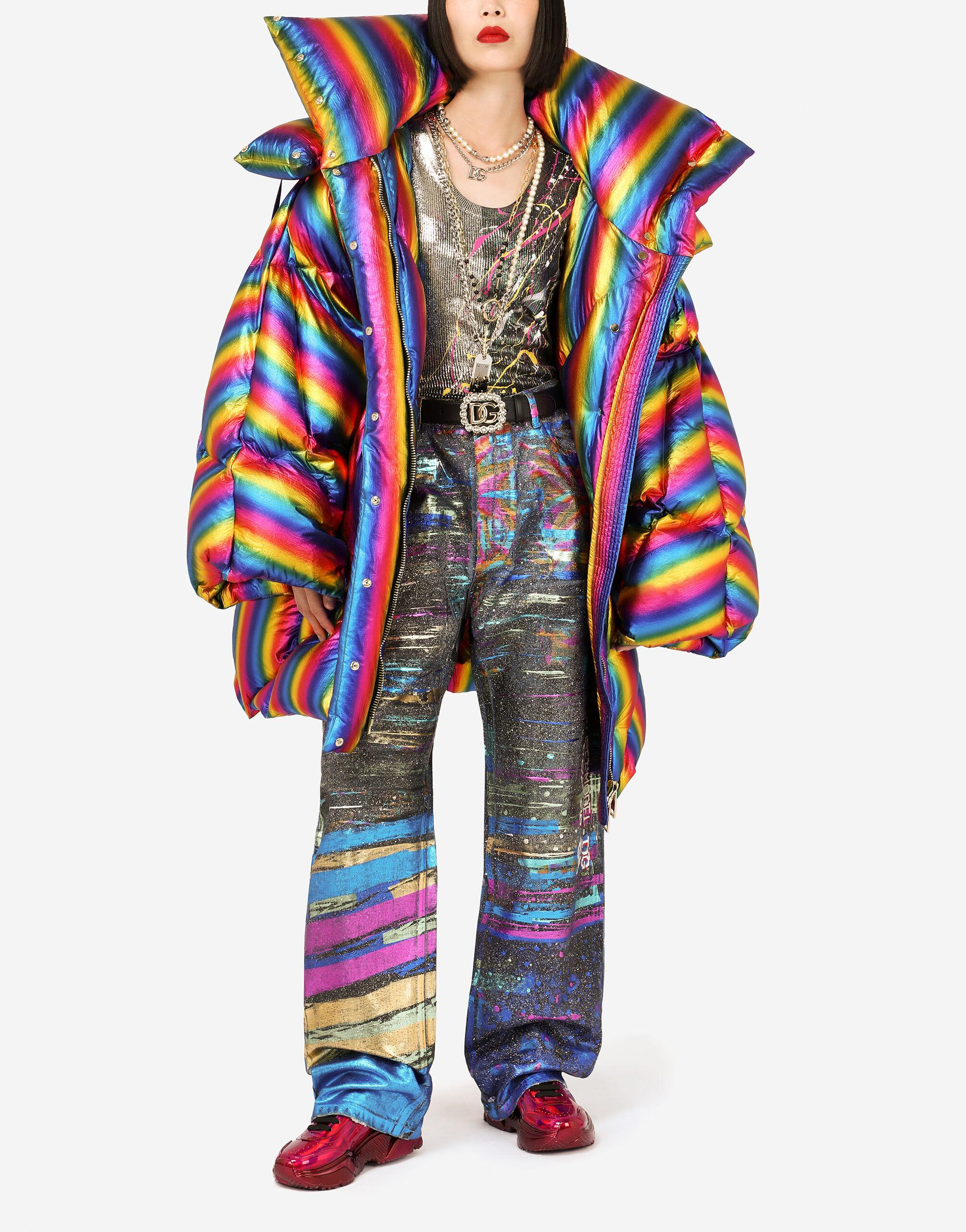 Foiled nylon down jacket with multi-colored stripes 3