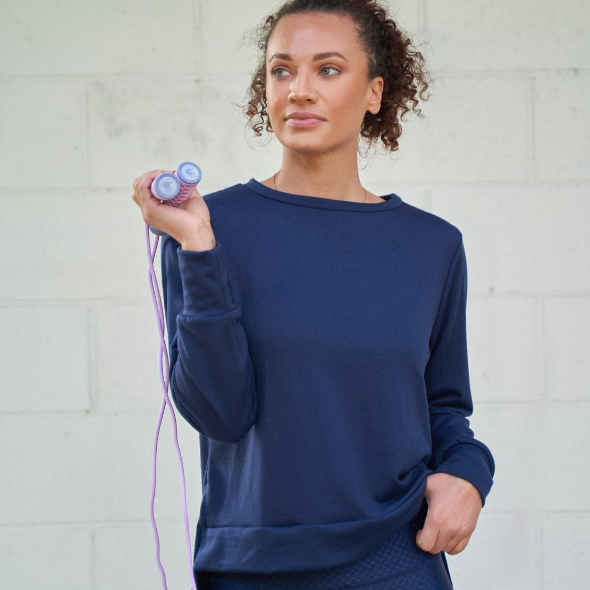Side Slit Long Sleeve- Navy French Terry