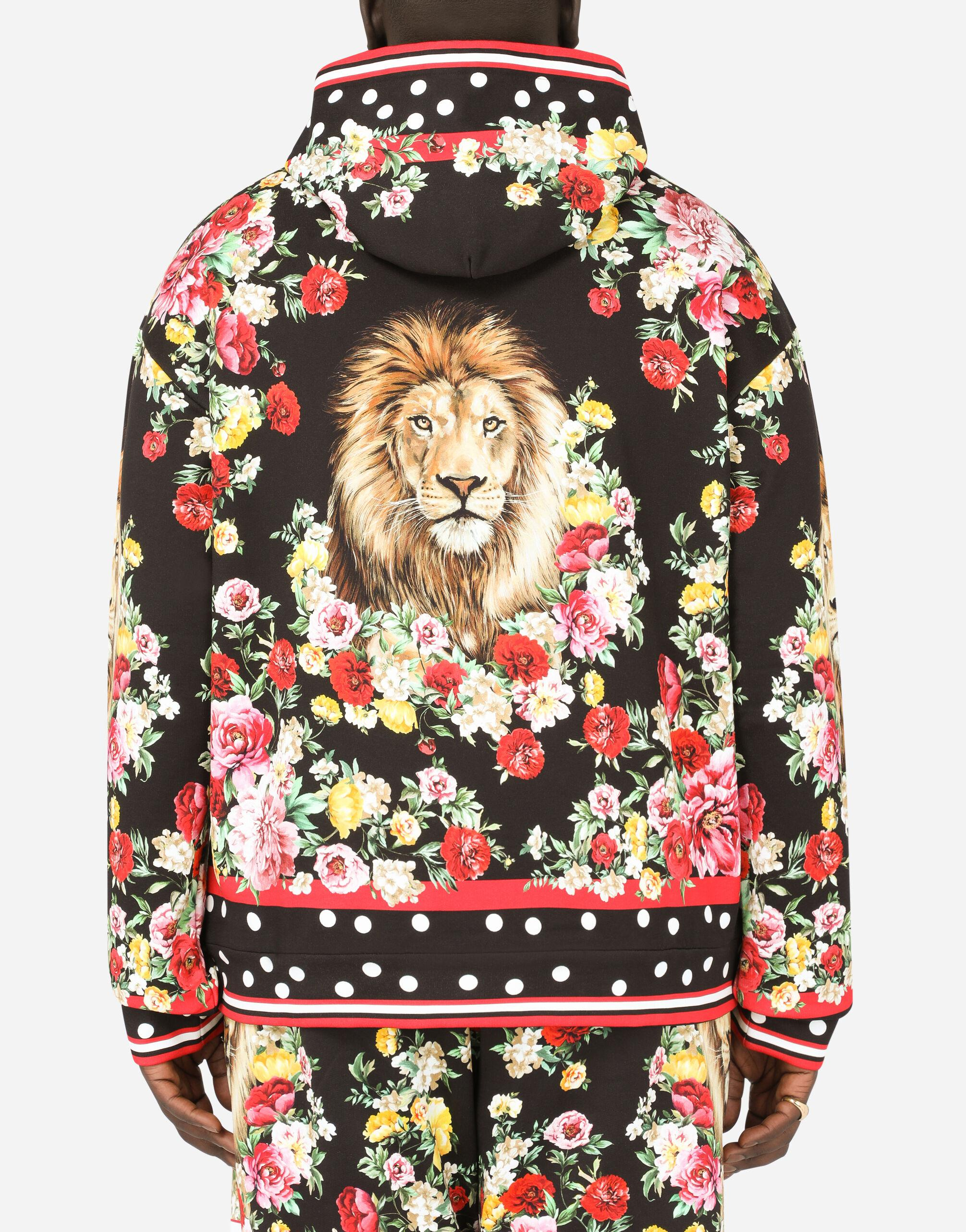 Hoodie with lion mix print 2