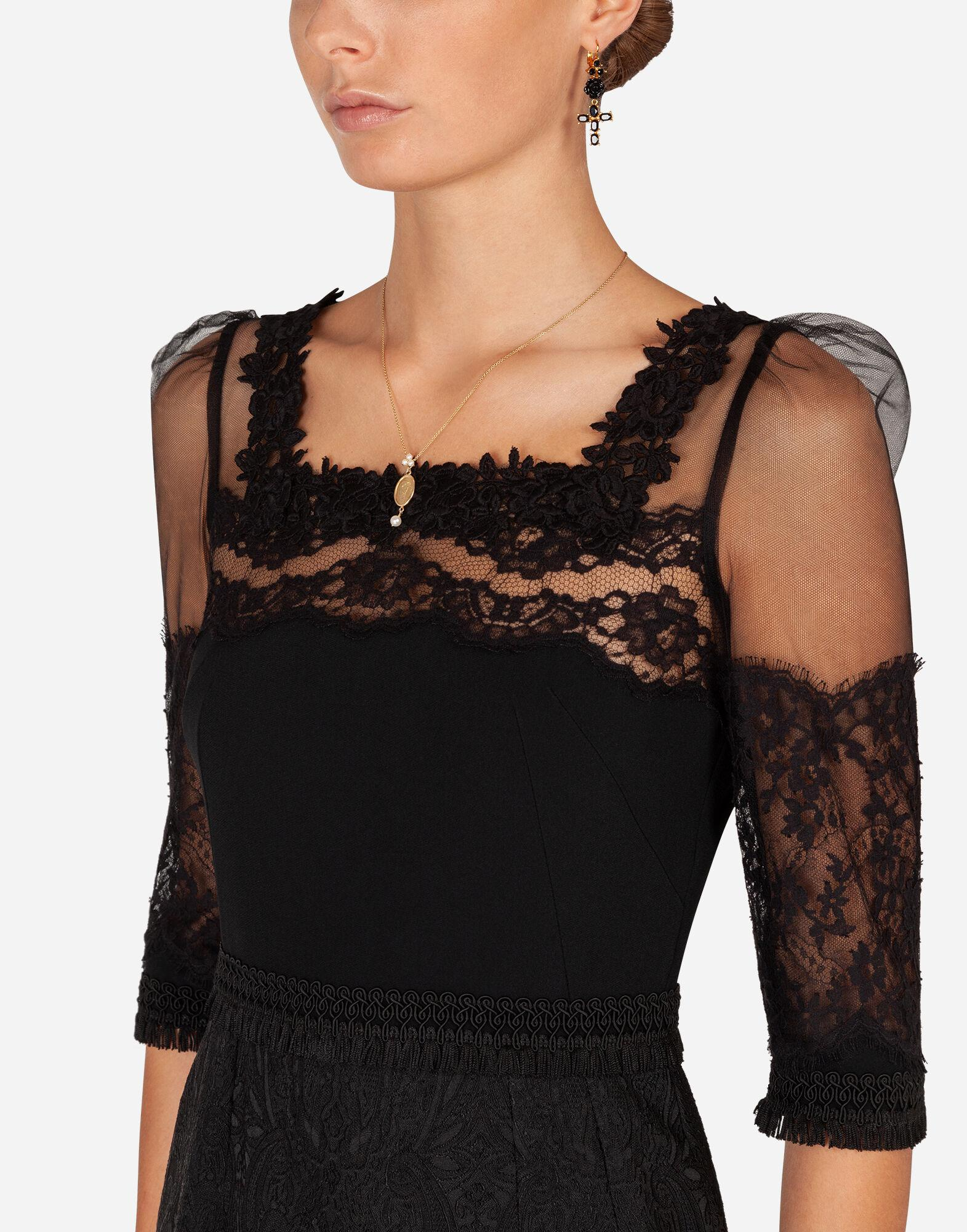 Cady and brocade midi dress with lace inserts 2