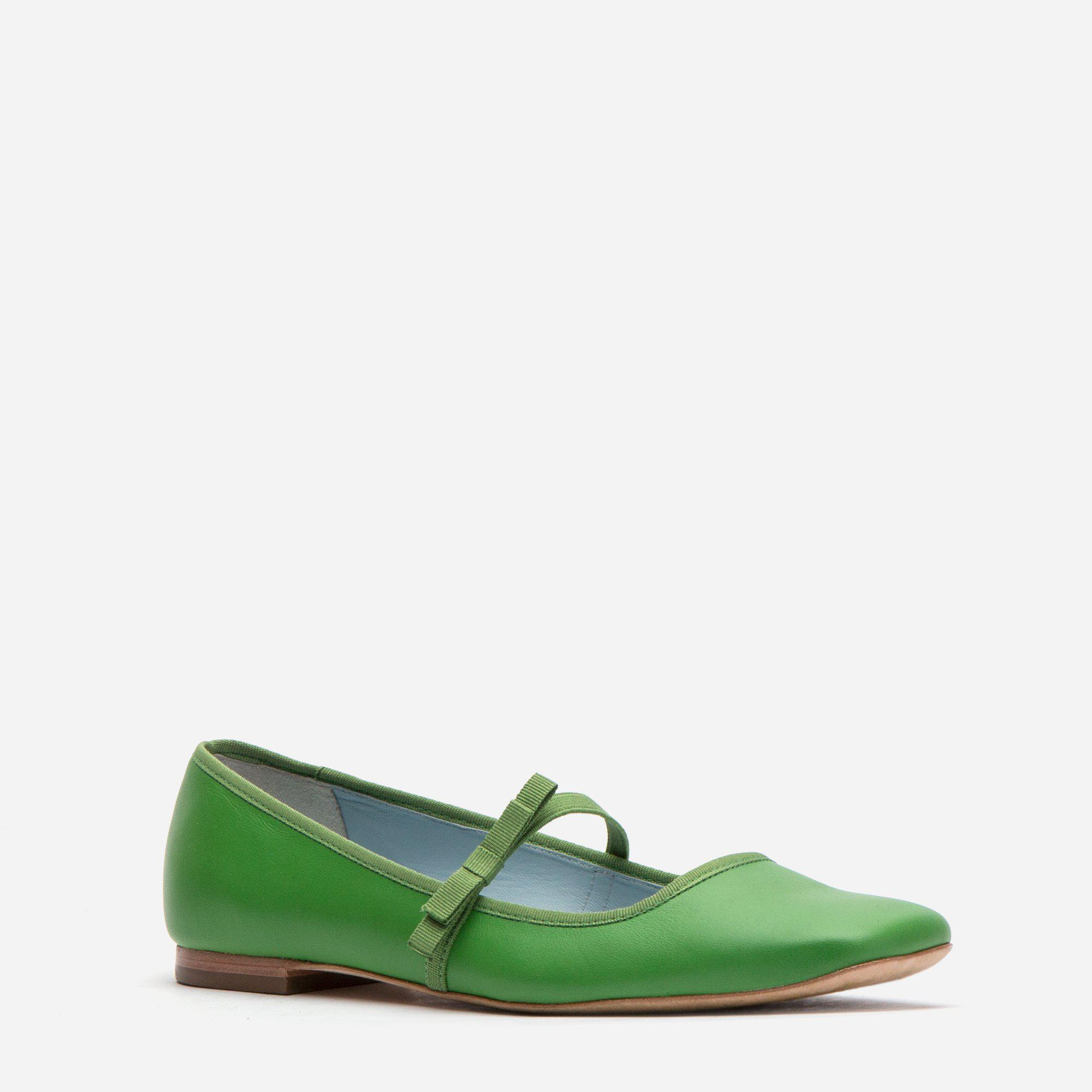 Jude Mary Jane Leather Flat Green 1