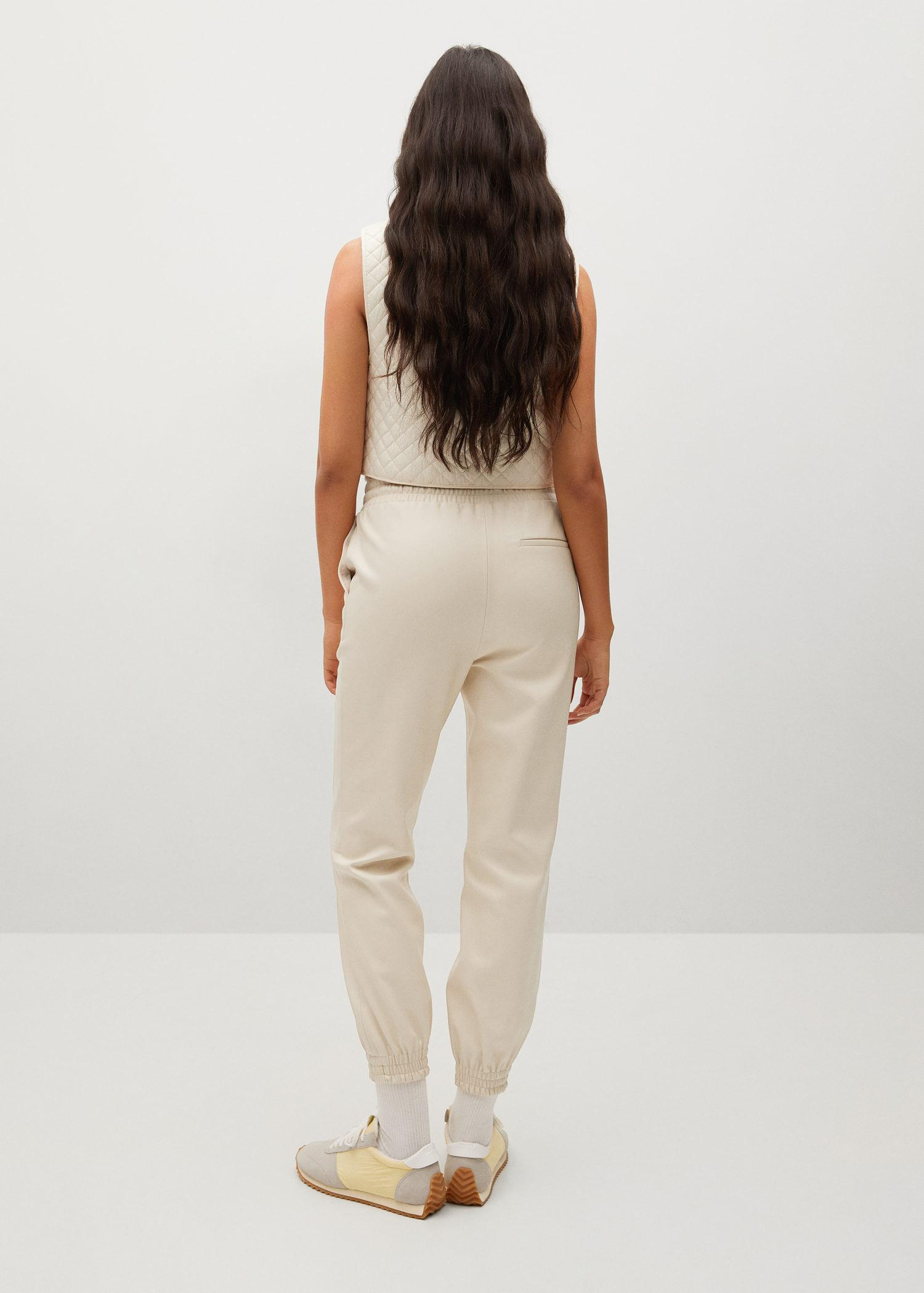 Leather-effect elastic waist trousers 2