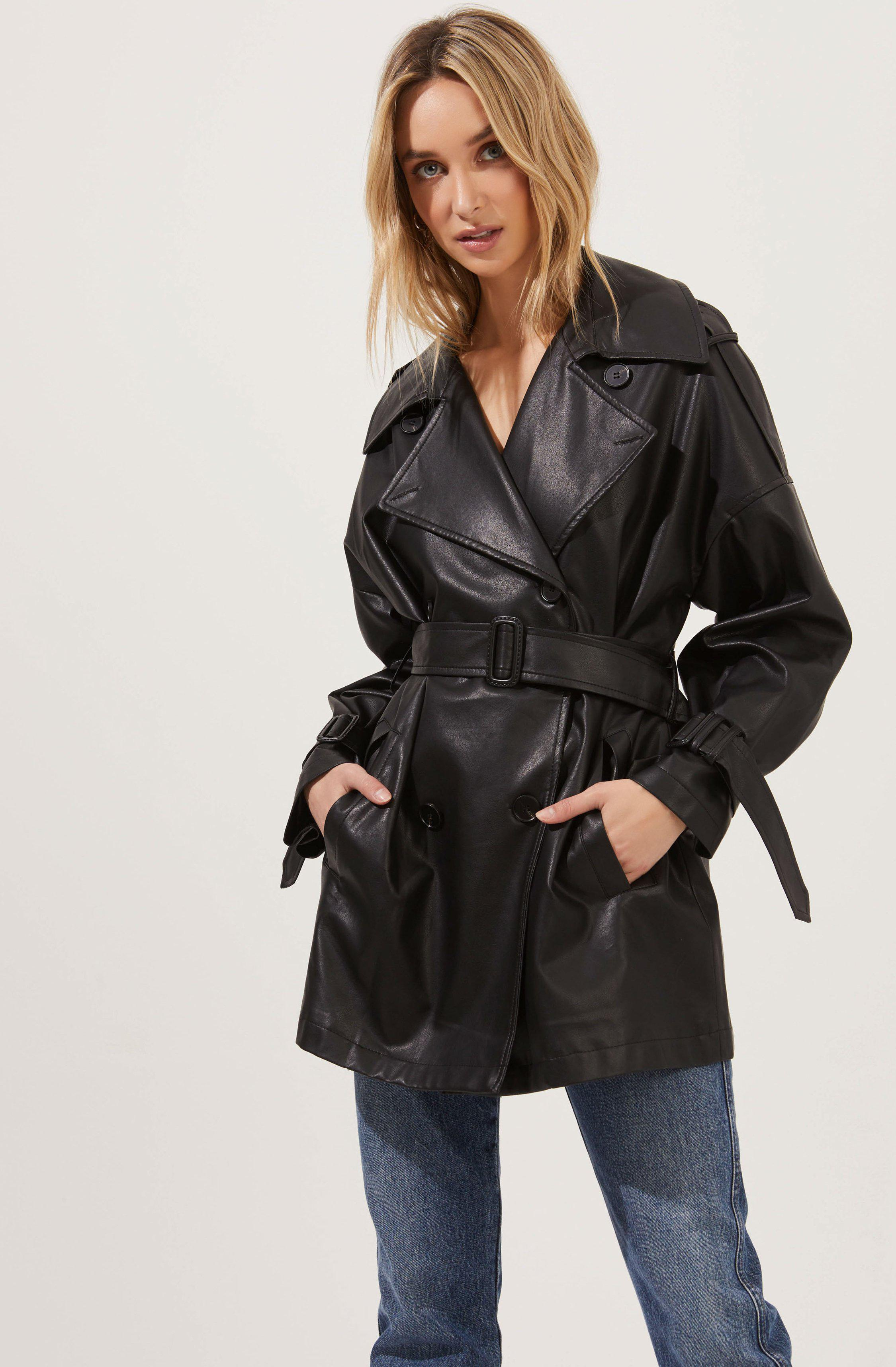 Peoria Belted Faux Leather Jacket