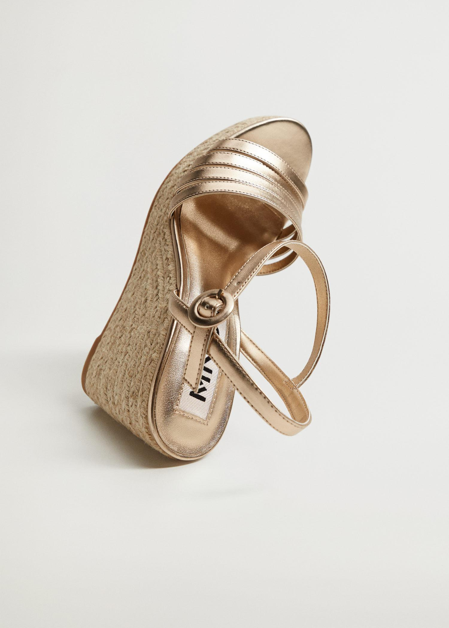 Metallic wedge sandals with straps 4